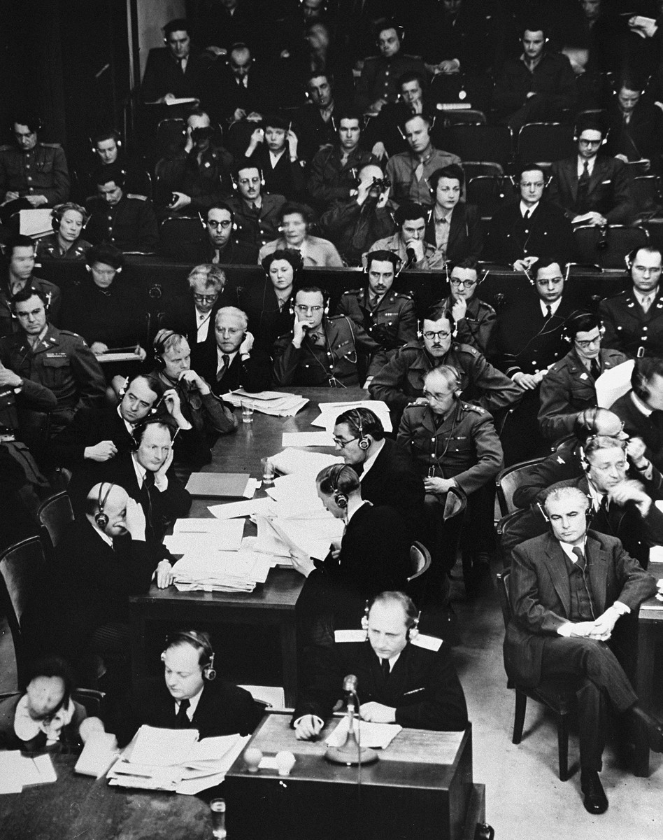 Chief Soviet prosecutor General R.A. Rudenko (bottom) addresses the court at the International Military Tribunal trial of war criminals at Nuremberg.    Behind him is the British prosecution table.