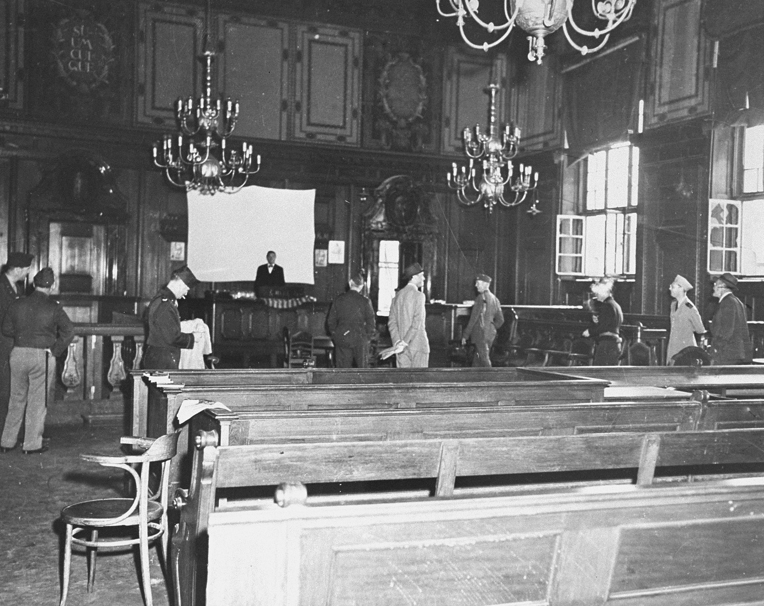 The courtroom where the International Military Tribunal trial of war criminals will be held, before any repairs or alterations were done.