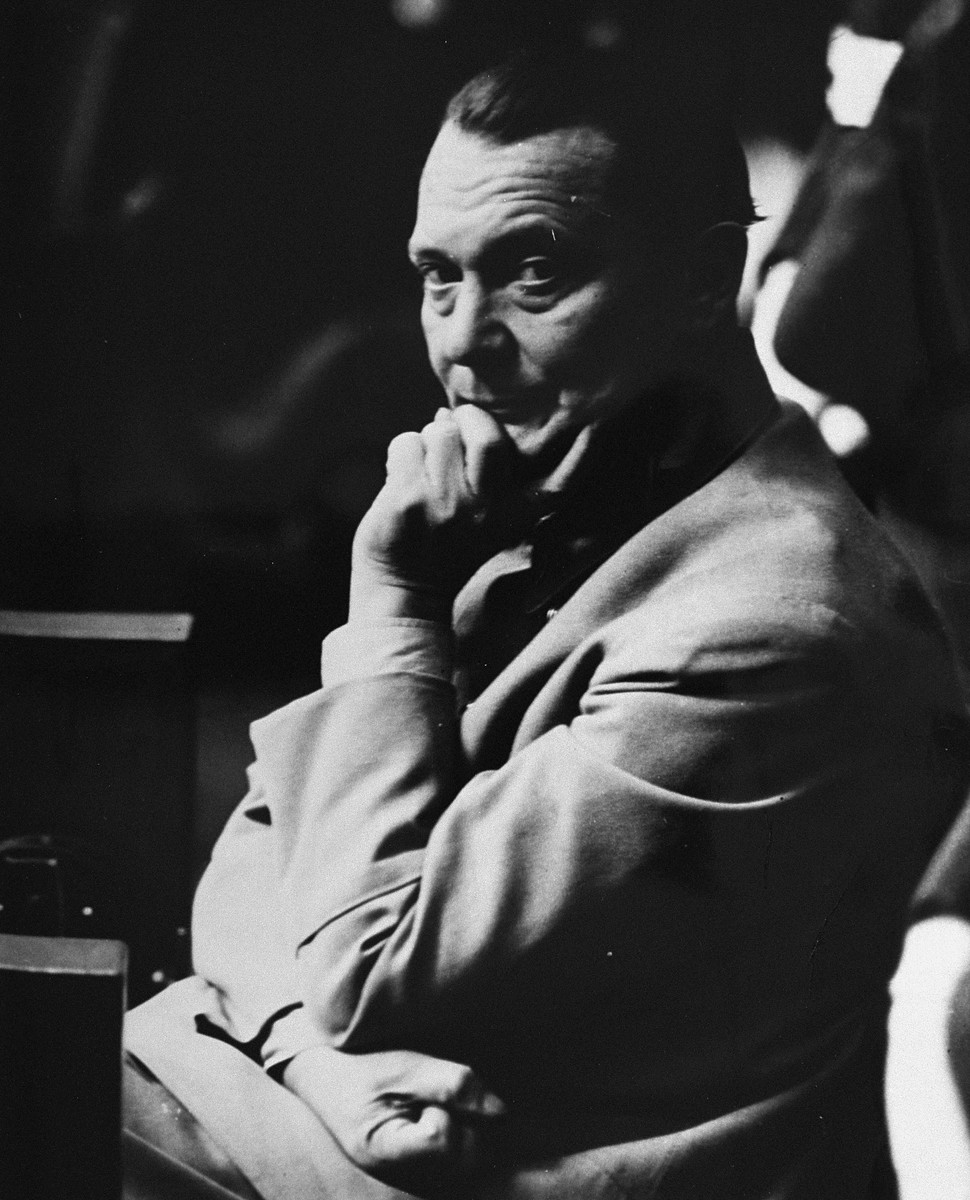 Defendant Hermann Goering in the prisoners' dock at the International Military Tribunal trial of war criminals at Nuremberg.  Goering was the former head of the Luftwaffe and was at one time second in command to Hitler.