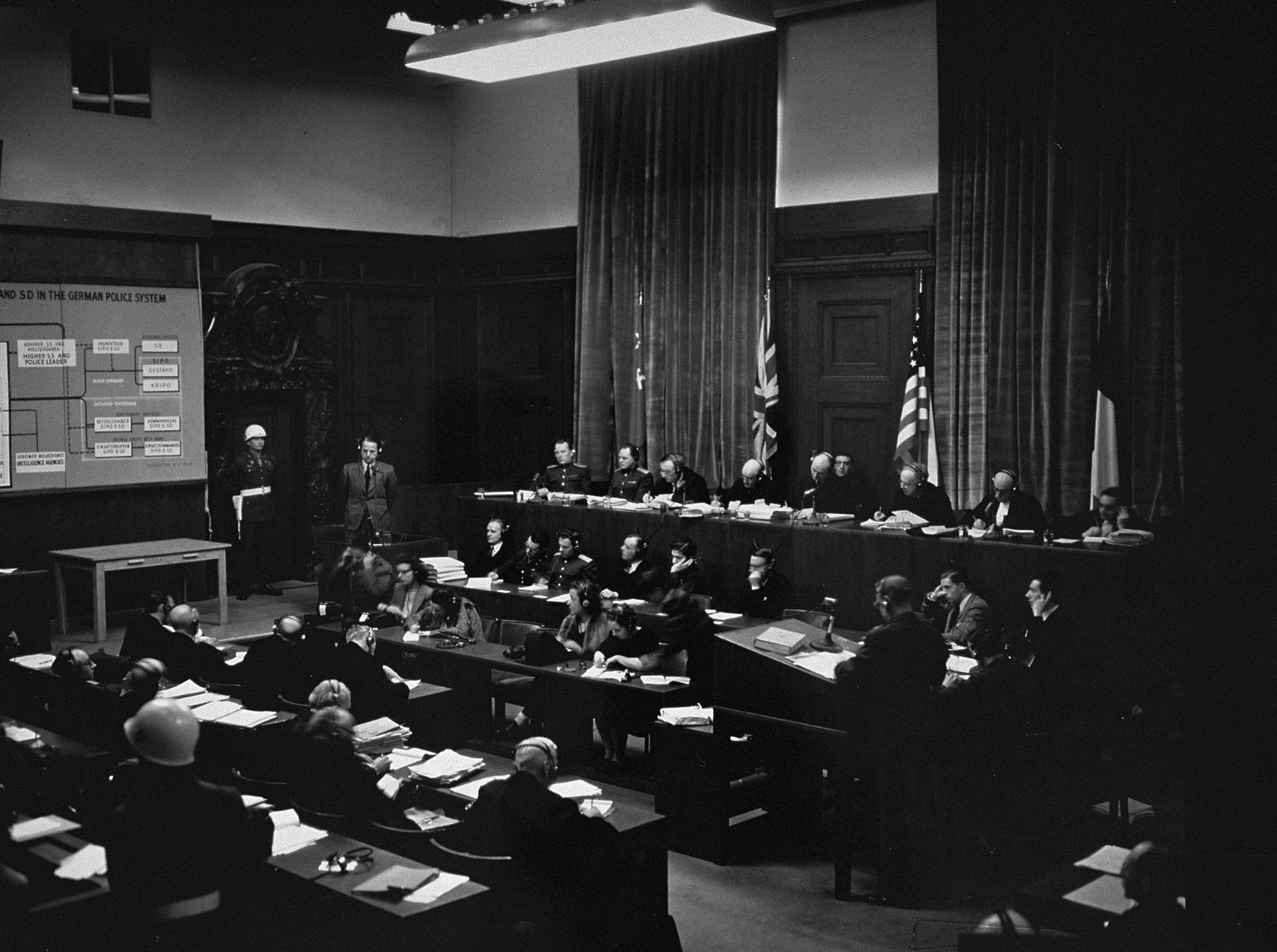 The International Military Tribunal hears evidence on defendant Ernst Kaltenbrunner, the SD, and the German police system at the war crimes trial in Nuremberg.