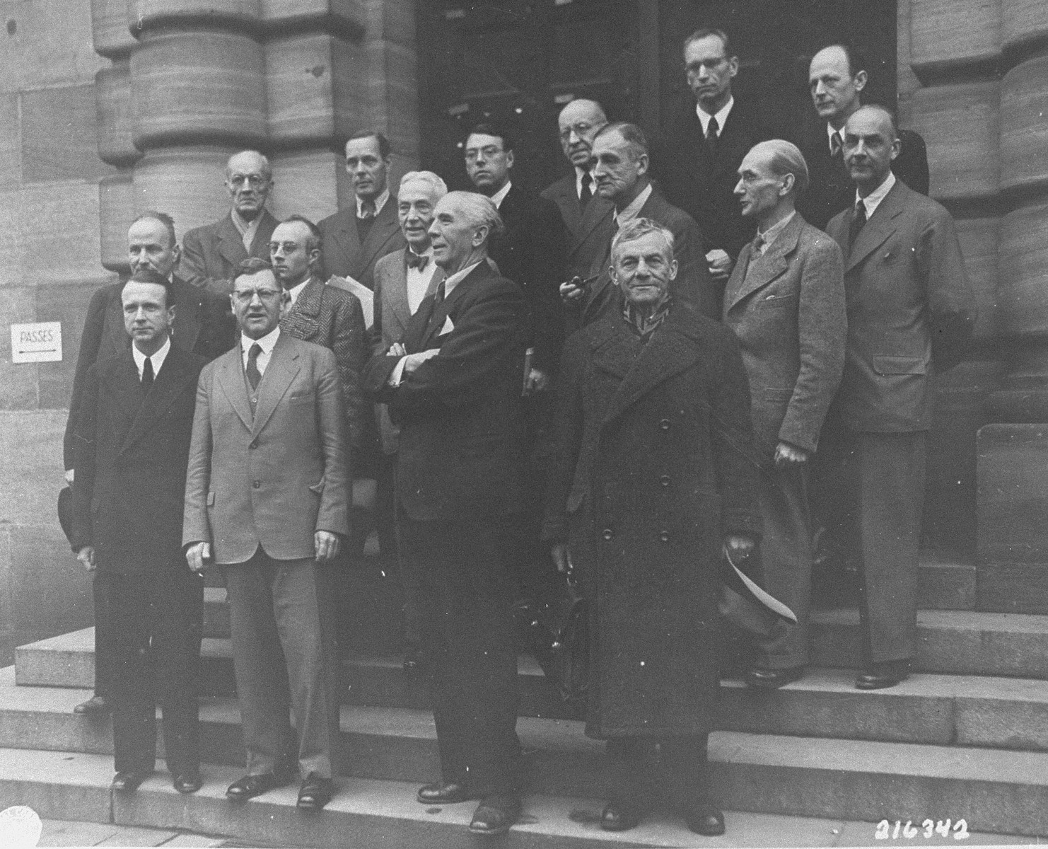 The lawyers for the defense pose before the beginning of the International Military Tribunal trial of war criminals at Nuremberg.