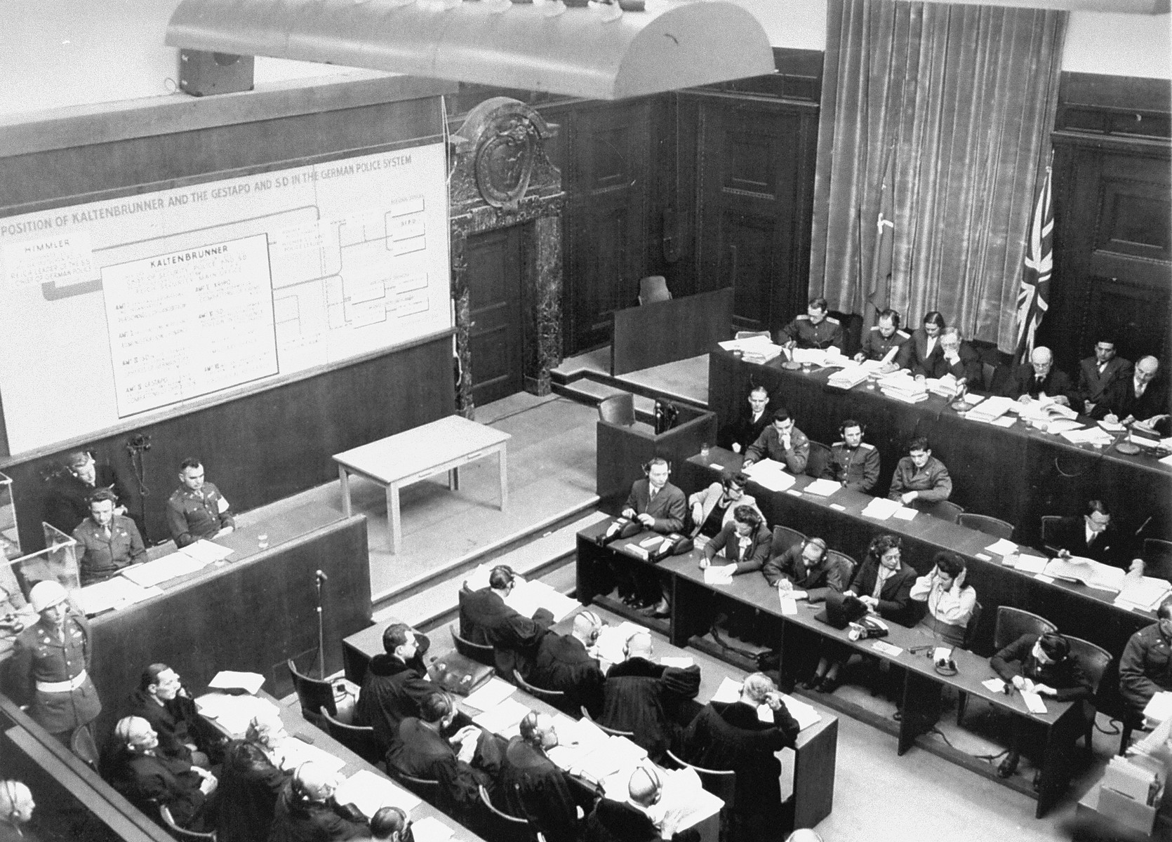 A chart on the wall, presented by the prosecution, illustrates the Gestapo organization controlled by Ernst Kaltenbrunner, a defendant at the International Military Tribunal trial of war criminals at Nuremberg.