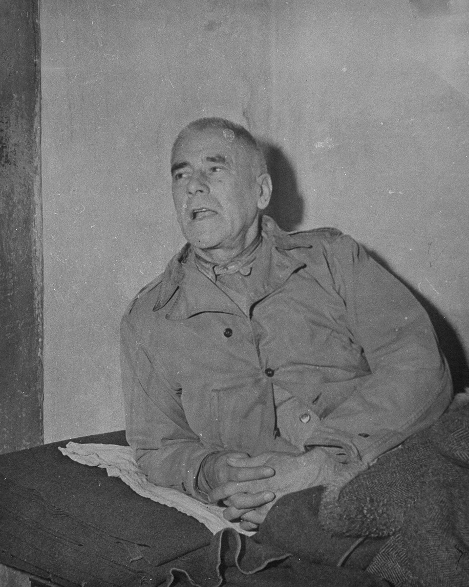 Defendant Wilhelm Frick, the former Interior Minister, in his prison cell at the International Military Tribunal trial of war criminals at Nuremberg.