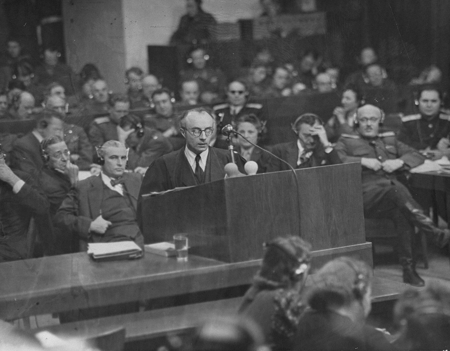 Defense counsellor Dr. Alfred Seidl, the counsel for Hans Frank and the second counsel for Rudolf Hess, presents an argument at the International Military Tribunal trial of war criminals at Nuremberg.