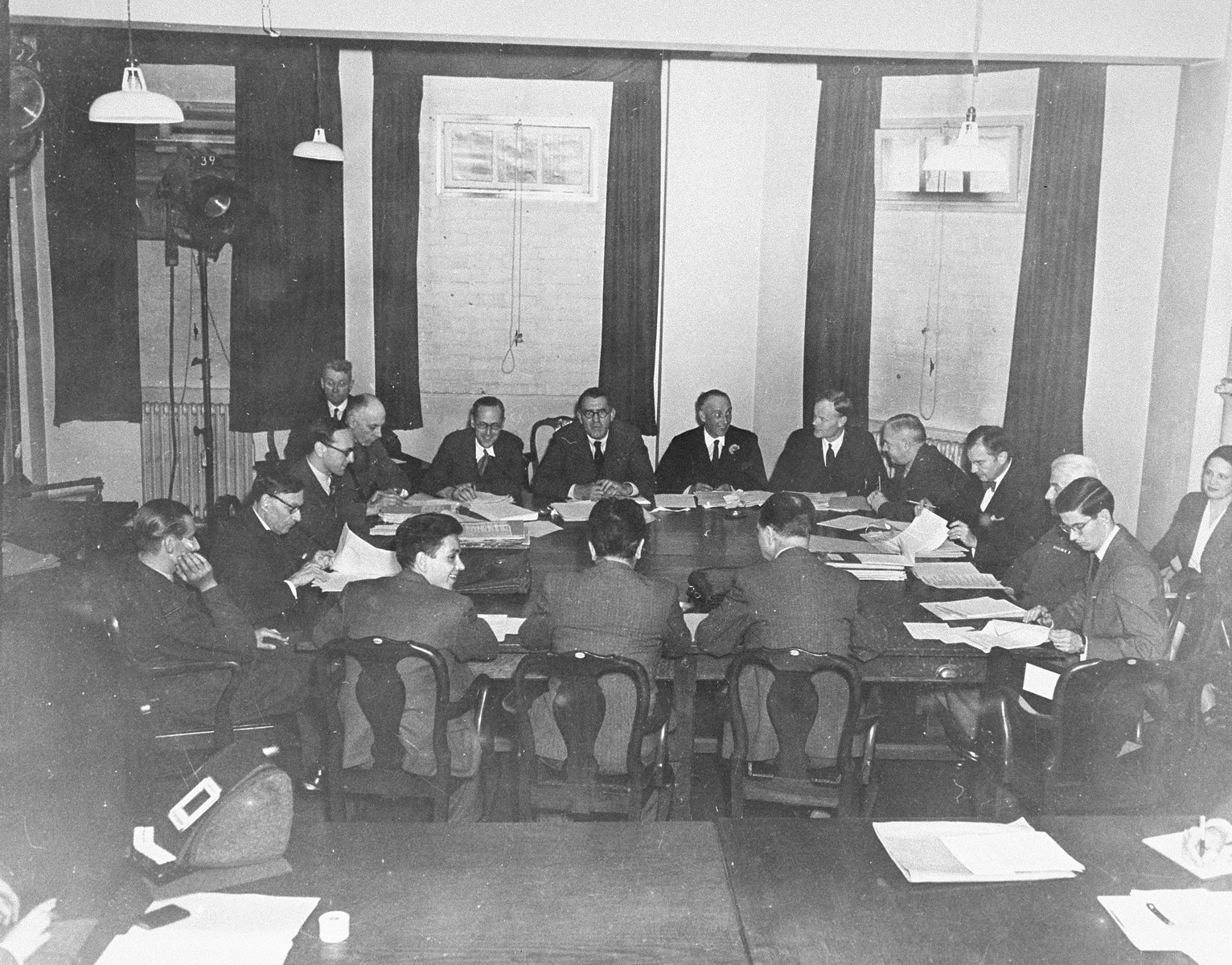 A meeting of the members of the War Crimes Executive Committee, the body which worked out the Allied agreement to create the International Military Tribunal to prosecute German war criminals at Nuremberg.