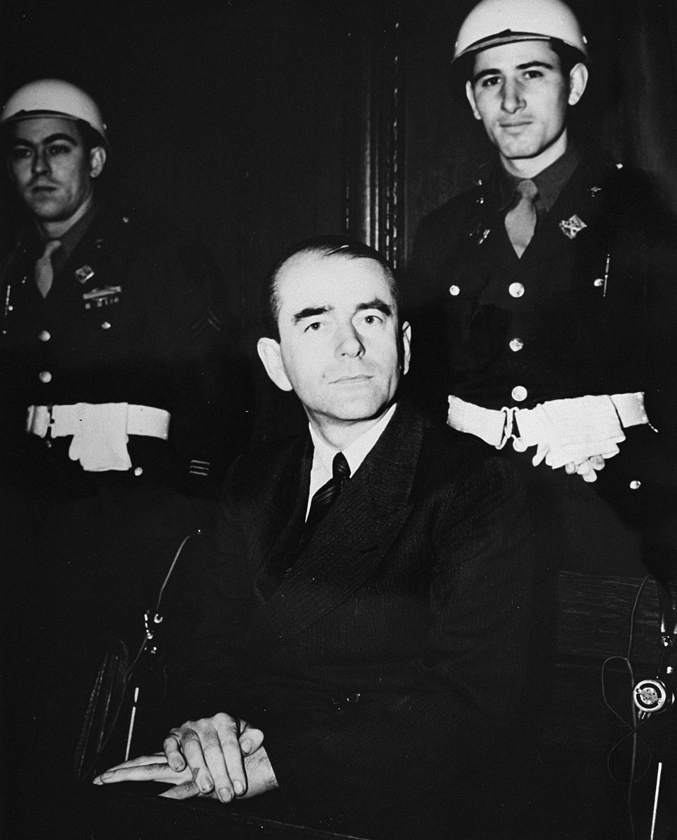 Defendant Albert Speer at the International Military Tribunal trial of war criminals at Nuremberg.
