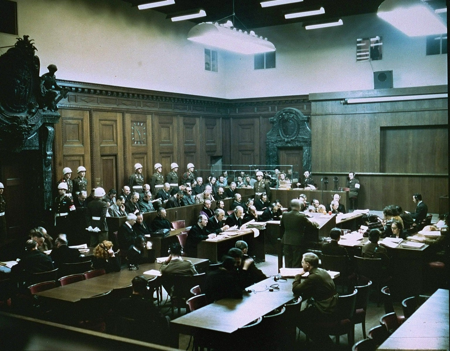 A member of the Russian delegation addresses the court at the International Military Tribunal trial of war criminals at Nuremberg.