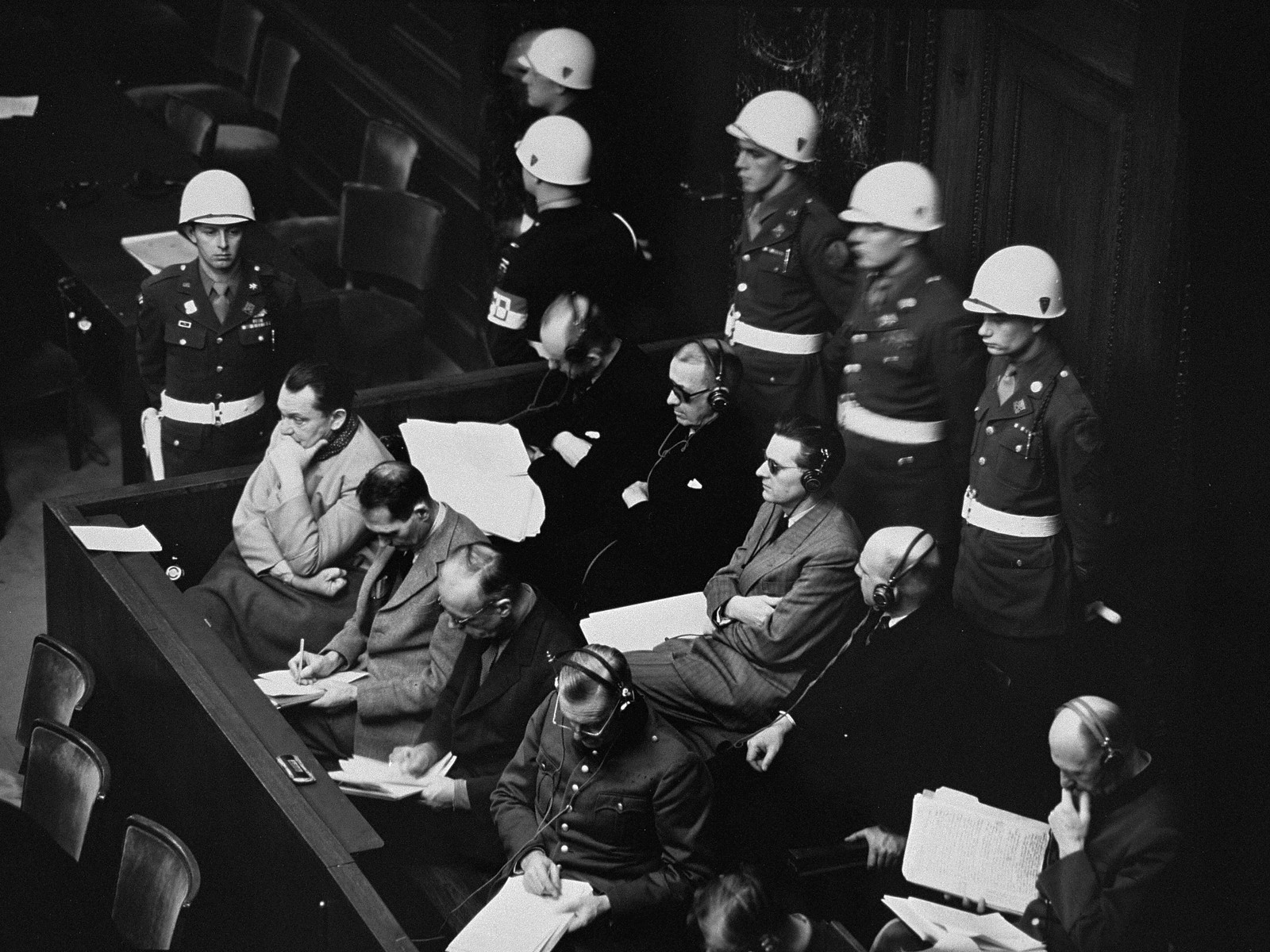 The defendants at the International Military Tribunal trial of war criminals at Nuremberg.