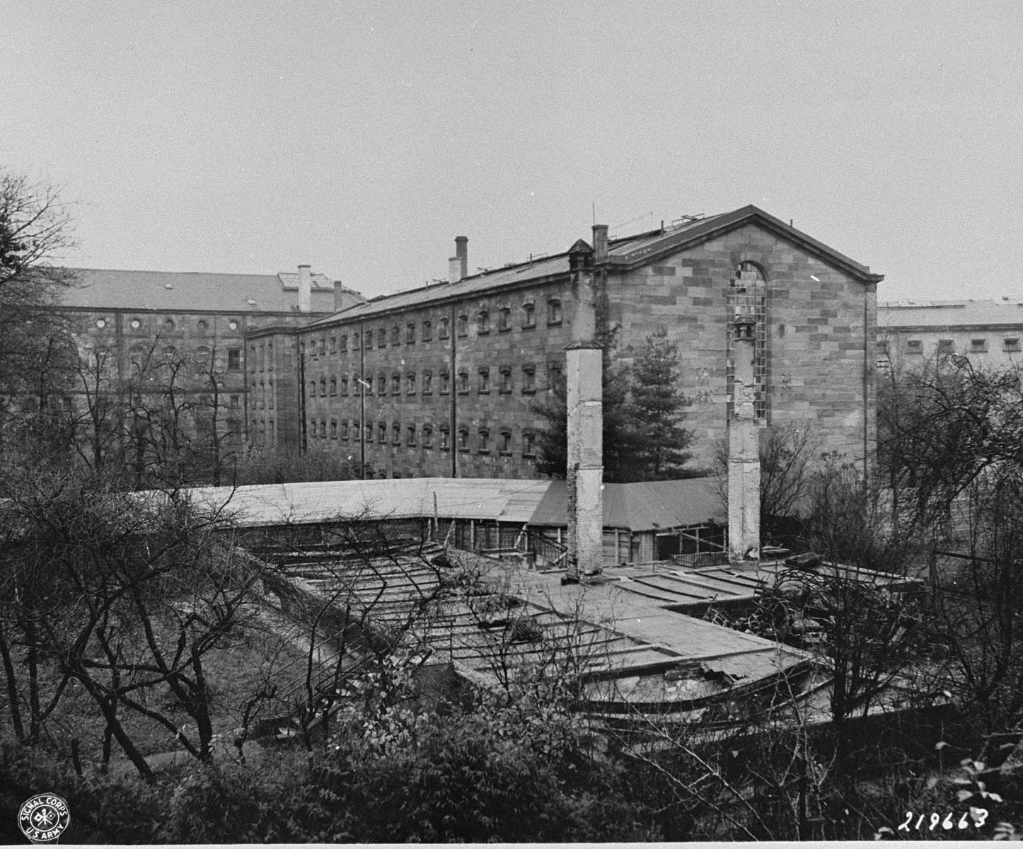 View of the Nuremberg prison, where the defendants were confined during the International Military Tribunal trial of war criminals.