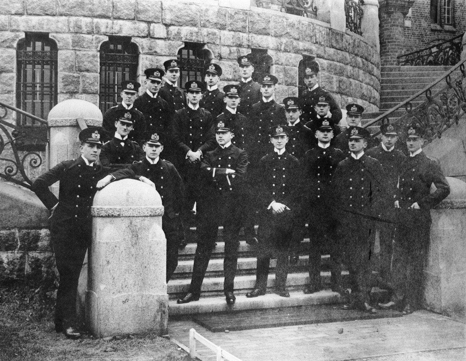 Group portrait of German cadets in the Flensburg-Muerwik Naval Academy.  Among those pictured is Martin Niemoeller (second row from the front, second from the right).