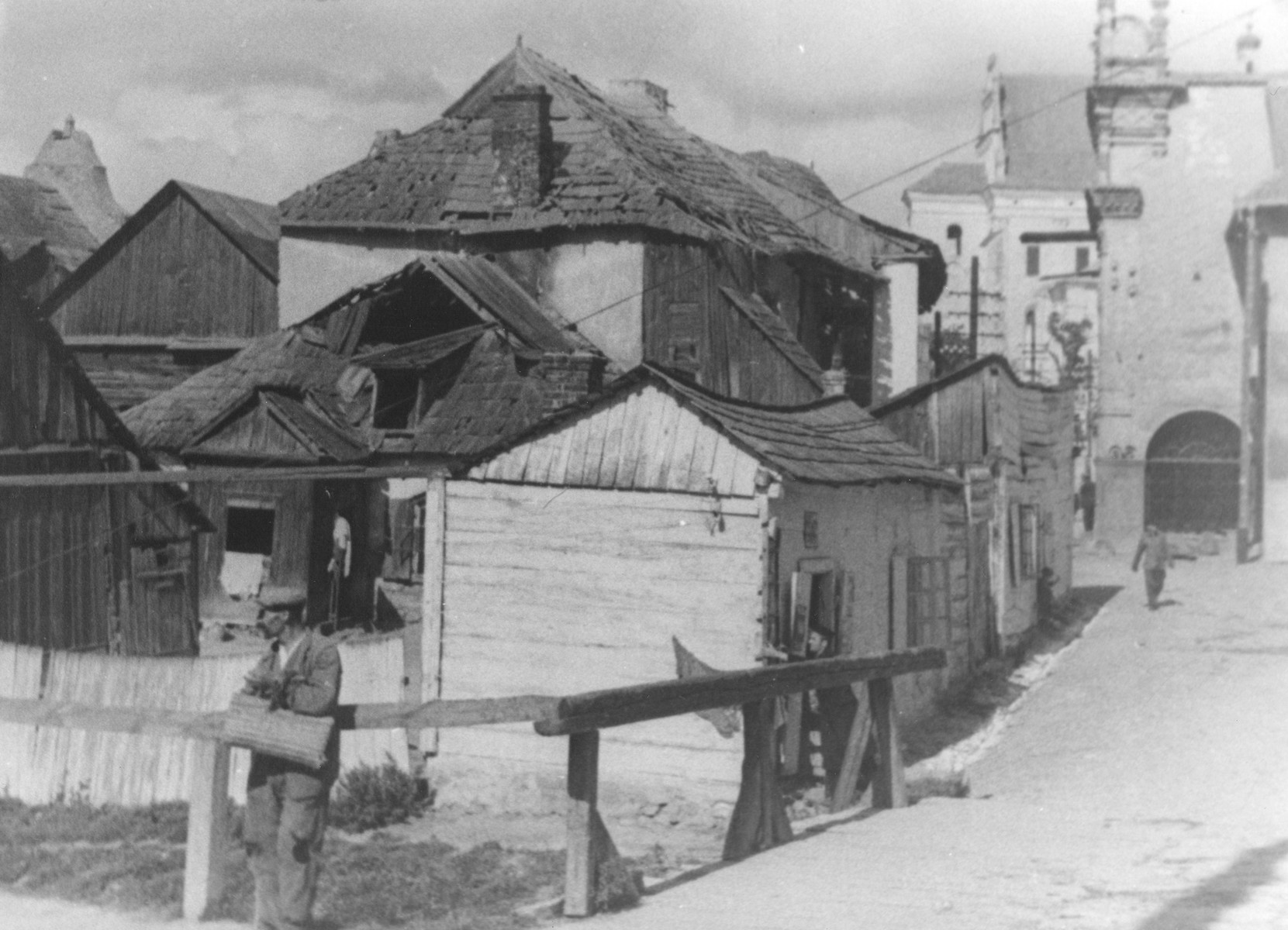 A cluster of old wooden houses in Kazimierz Dolny, Poland.