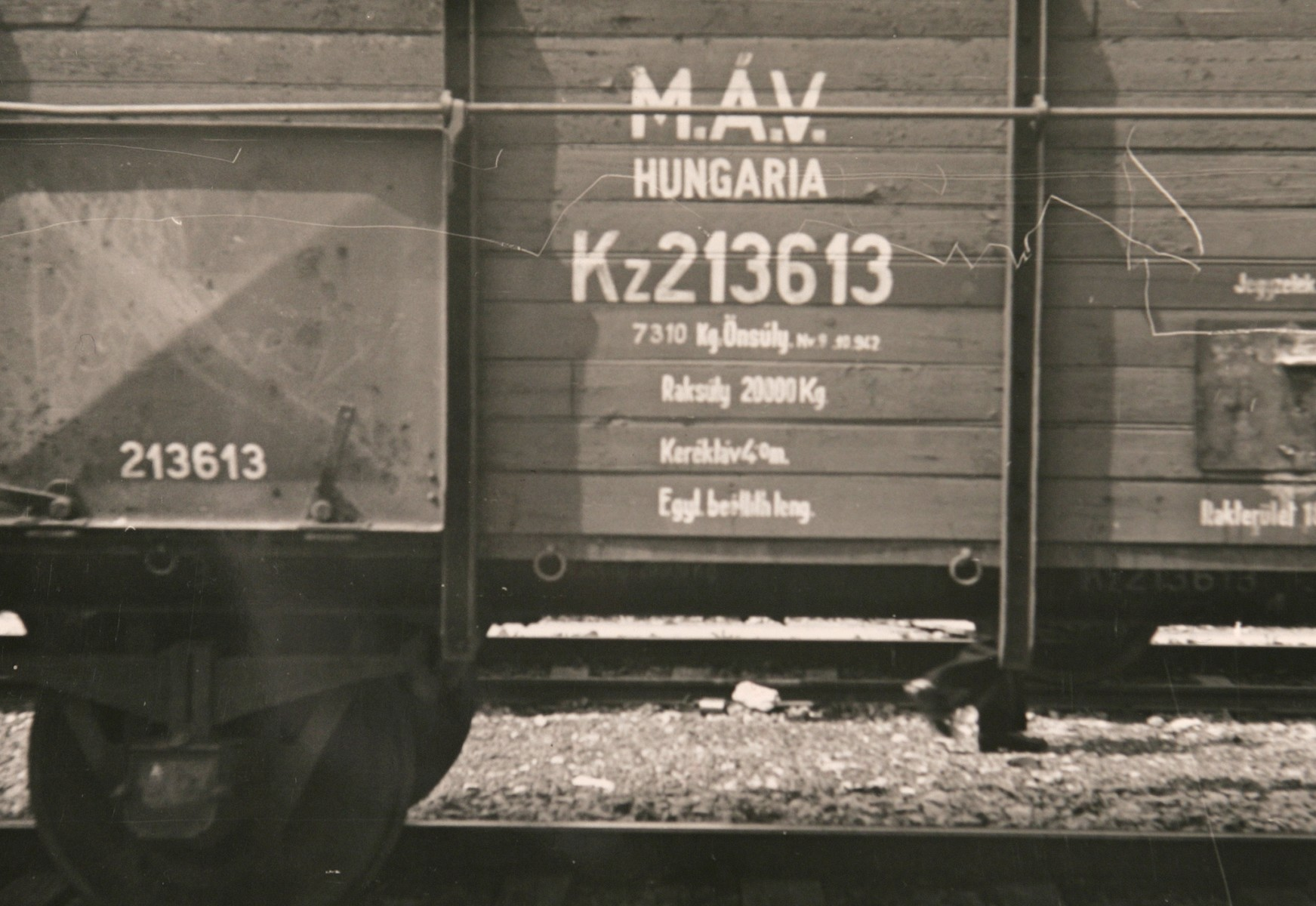 "View of the ""MAV Hungaria"" (Magyar Allam Vasutak, Hungarian State Railway) identification printed on the side of one of the freight cars of the Hungarian Gold Train in Werfen, Austria.   The photograph was taken soon after the American occupation authorities took custody of the train.  The original caption reads: ""Detail of train with evacuated Hungarian art treasures."""