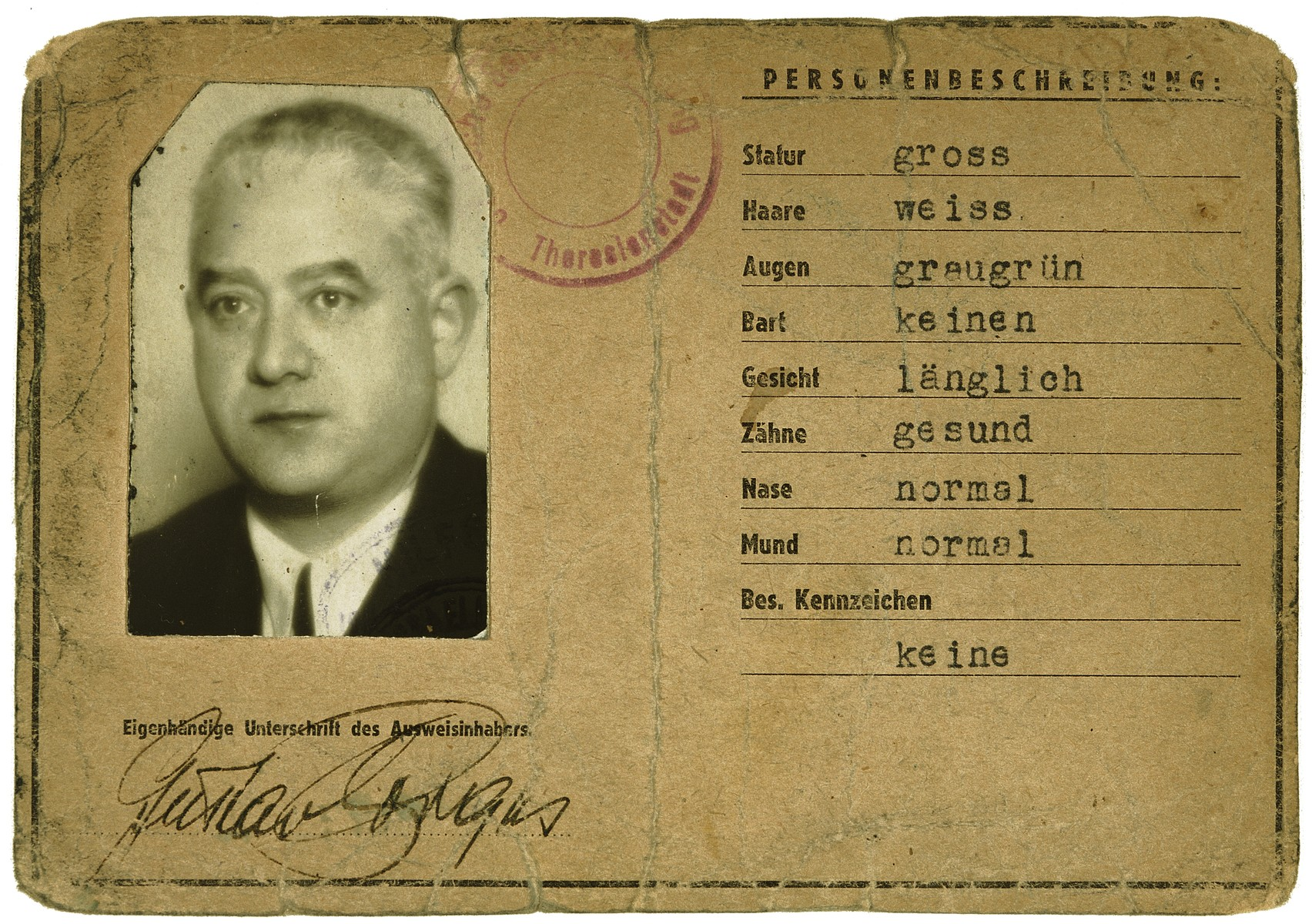 Identification card issued in the Theresienstadt concentration camp to Gustav Porges.