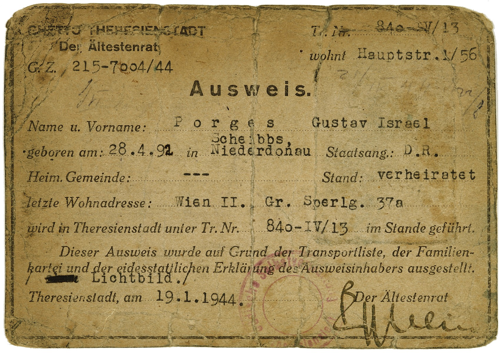 Verso of an identification card issued in the Theresienstadt concentration camp to Gustav Porges.