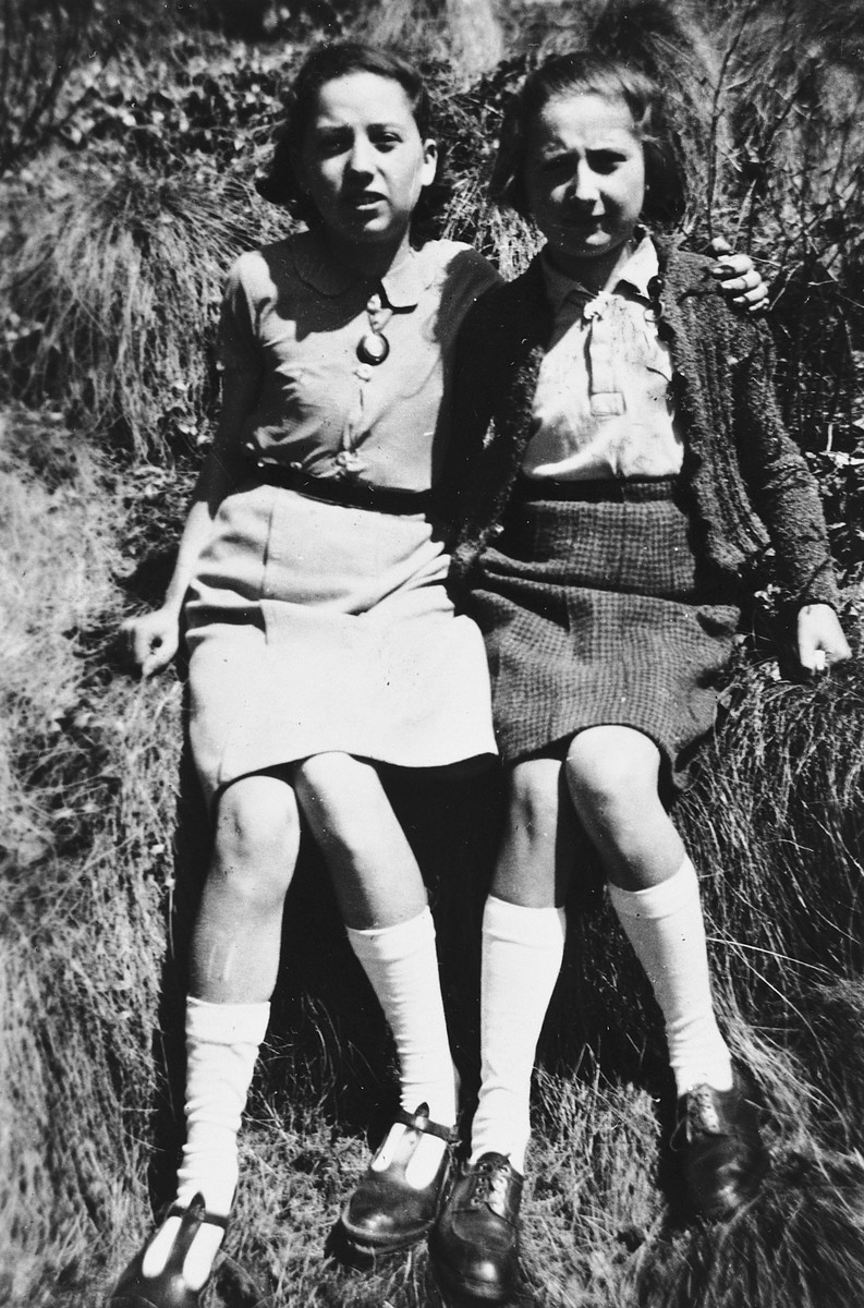 Portrait of two Jewish girls in hiding in Clermont-Ferrand.  Pictured are Dora and Selma (last names unknown).