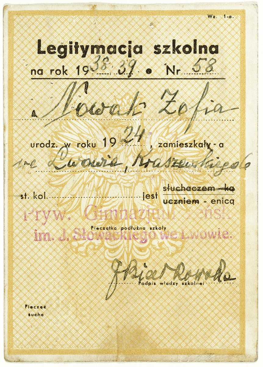 Verso of false papers issued to Sophie Kimelman under the name Zosia Nowak.