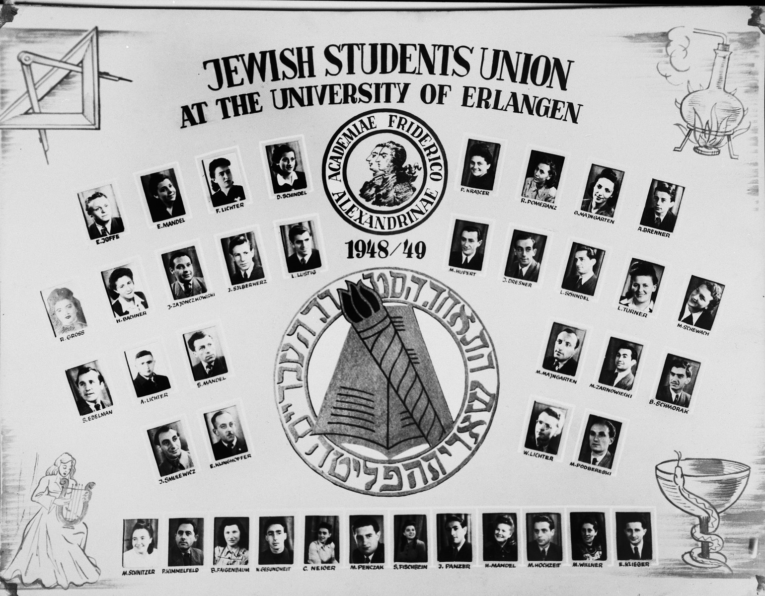 Composite photograph of the members of the Jewish Student Union at the University of Erlangen.  Among those pictured is the president of the Jewish Student Union, Paul Lustig (fourth row, fifth from the left).  Marion Hupert (4th row, fifth from the right) became a dentist as did John Silberherz (later Saunders), fourth from the left.  Renata Gross (later Smilo) fourth row, far left became an endocrinologist.  M. Hochzeit (first row, third from right) became a publisher.