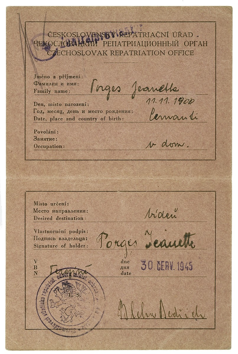 Repatriation certificate issued to Theresienstadt survivor, Jeanette Porges.