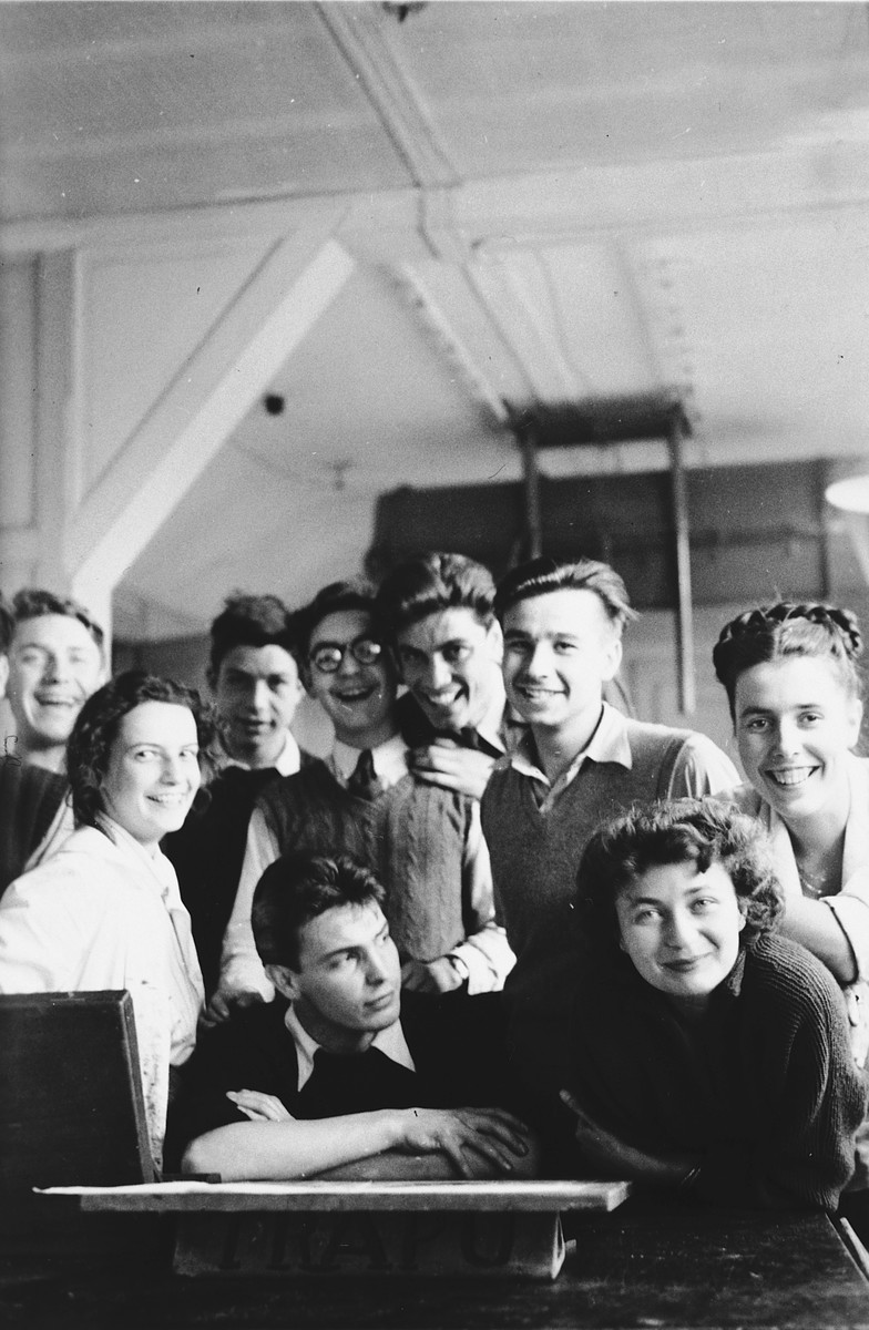 Group portrait of students in the Ecole des Beaux-Arts in Geneva, Switzerland.  Pictured in the front row are Paul Peter Porges and Lucie Eisenstab.