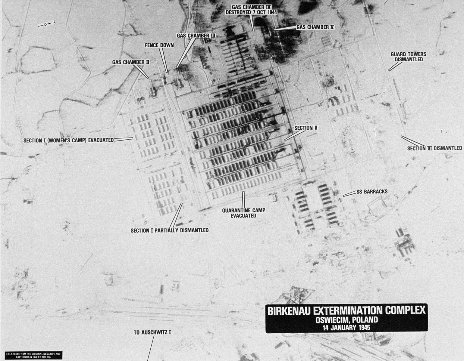 An aerial reconnaissance photograph of the Auschwitz concentration camp showing the Auschwitz II (Birkenau) camp.