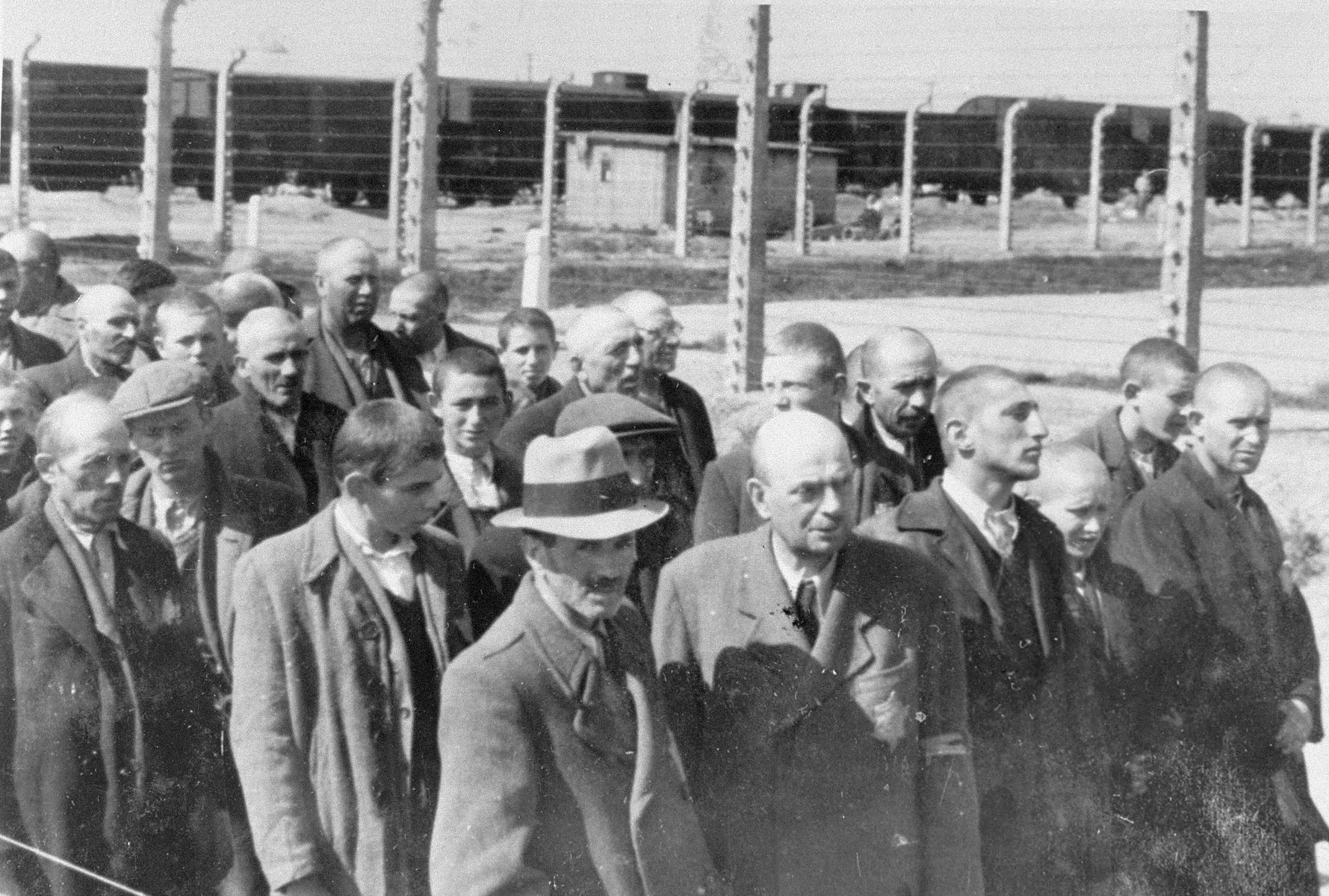 Jews from Subcarpathian Rus who have been selected for forced labor at Auschwitz-Birkenau, are marched to another section of the camp.