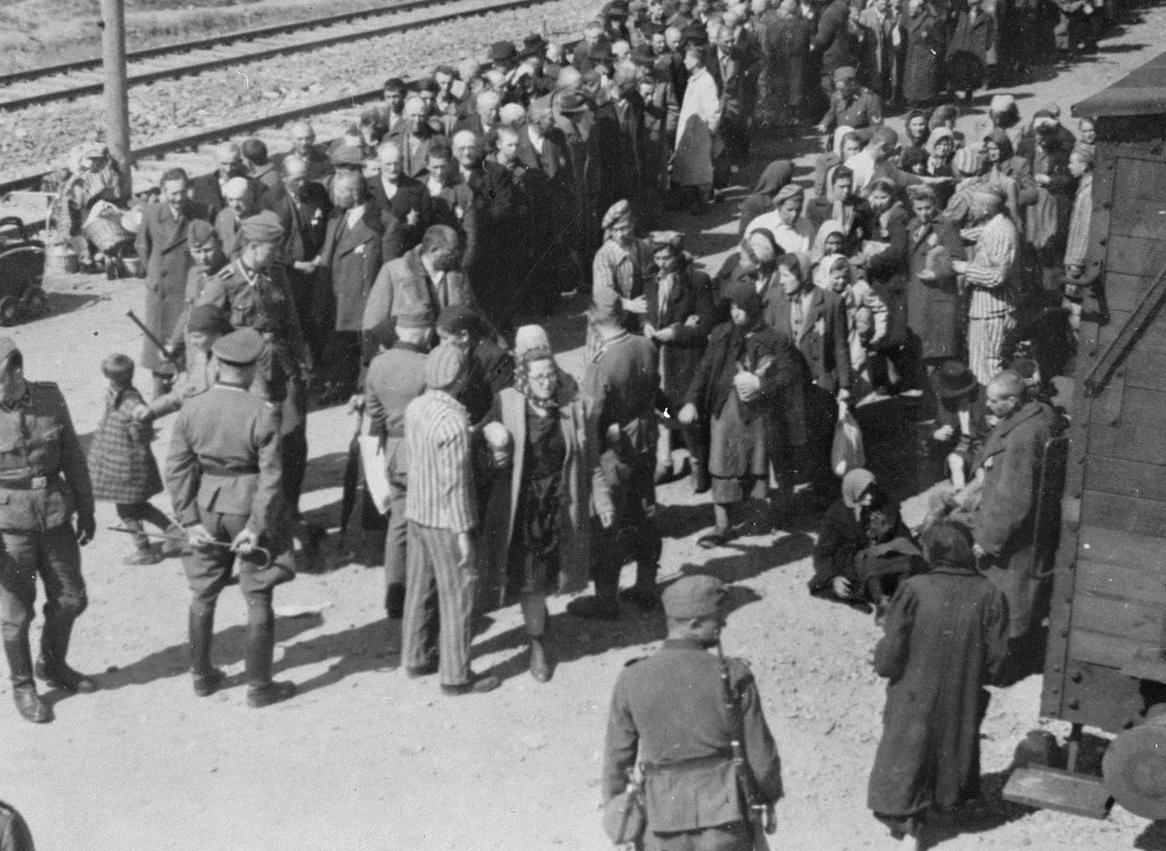 Jews from Subcarpathian Rus undergo a selection on the ramp at Auschwitz-Birkenau.  Pictured in front holding a riding crop is either SS Unterscharfuehrer Wilhelm Emmerich or SS Haupsturmfuehrer Georg Hoecker.  Also pictured are members of the Kanada kommando,  Hans Schorr, Norbert Lopper and Heini Preiss.  Gyorgy Havas is standing in the center in a white coat.