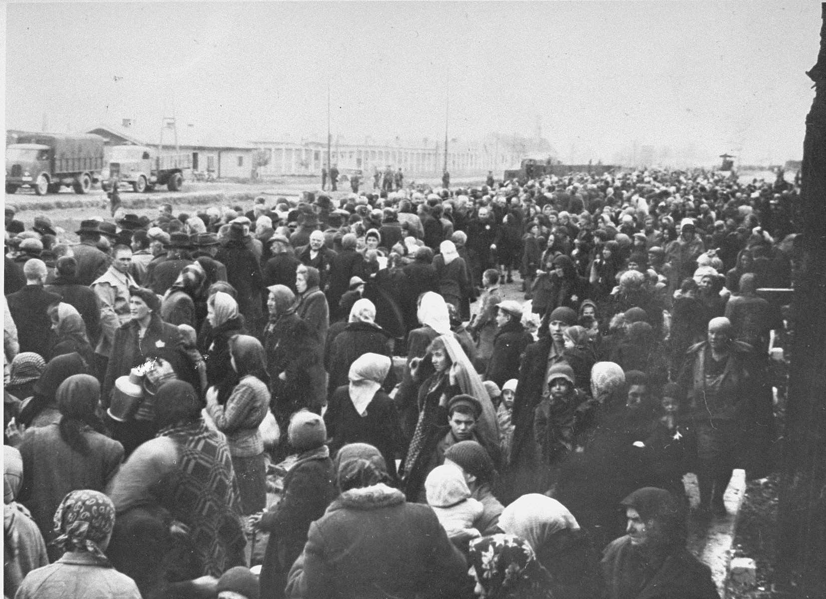 A transport of Jews from Subcarpathian Rus is taken off the trains and assembled on the ramp at Auschwitz-Birkenau.