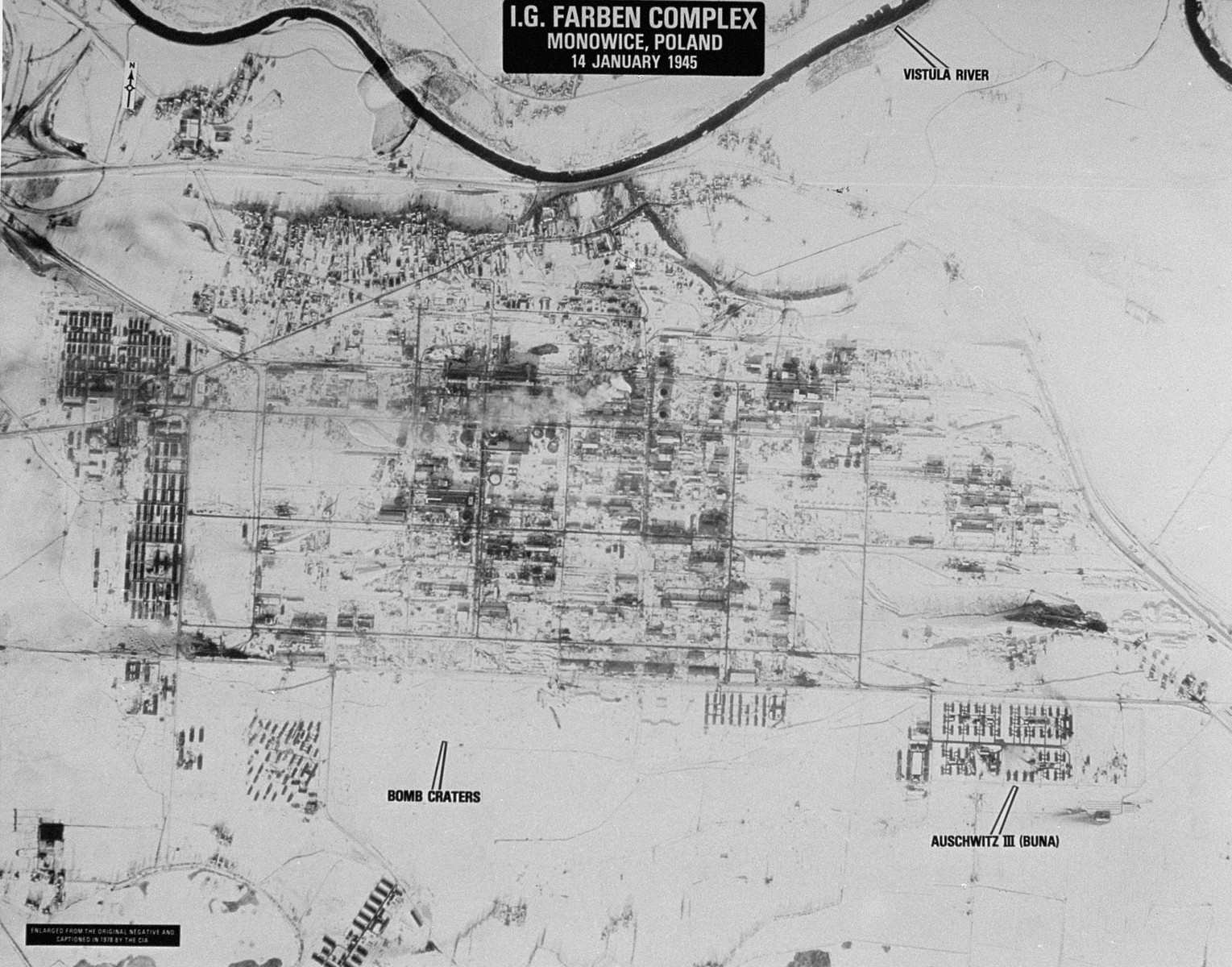 An aerial reconnaissance photograph of the Auschwitz concentration camp showing the I.G. Farben complex.