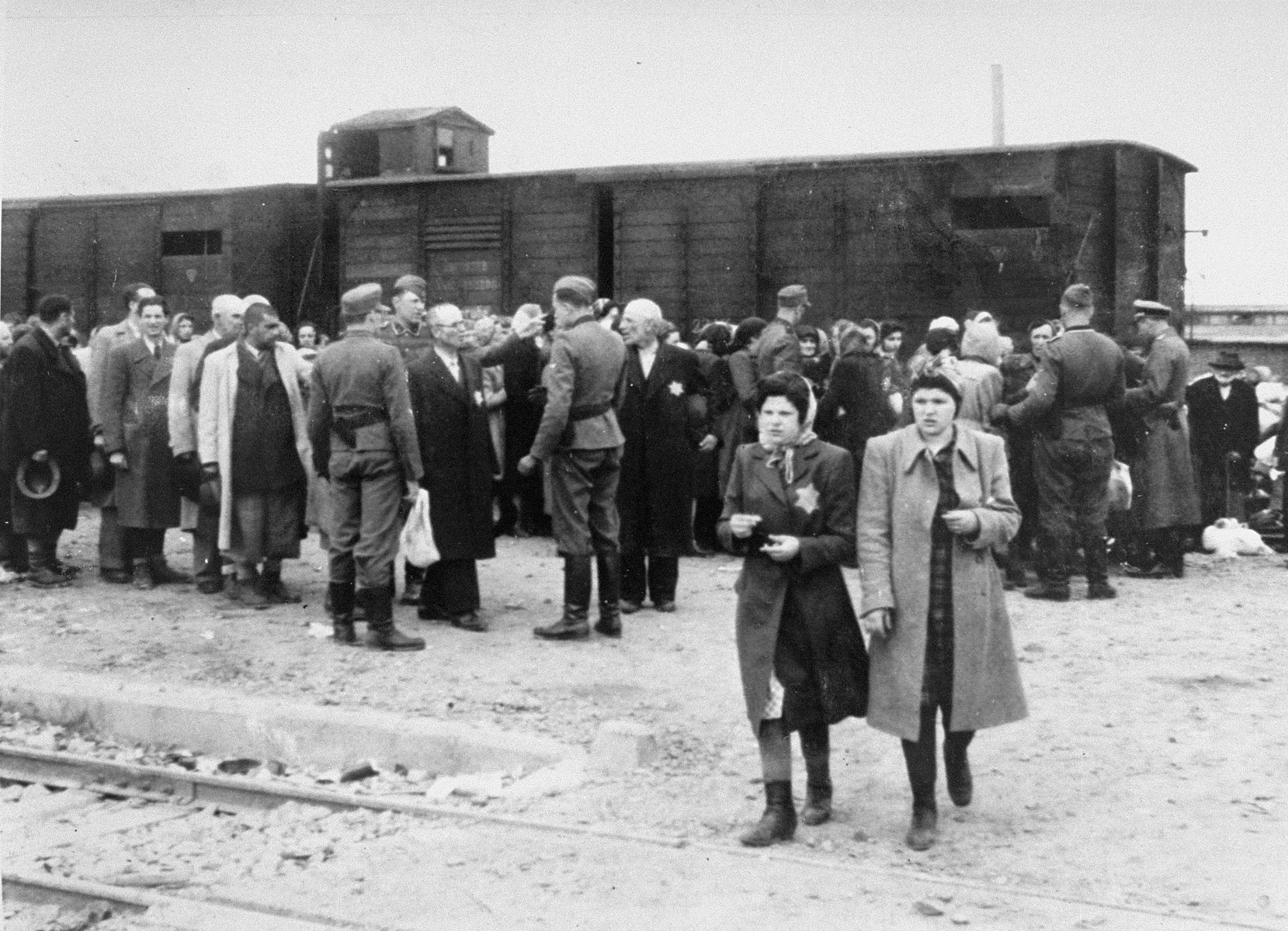 Jews from Subcarpathian Rus undergo a selection on the ramp at Auschwitz-Birkenau.