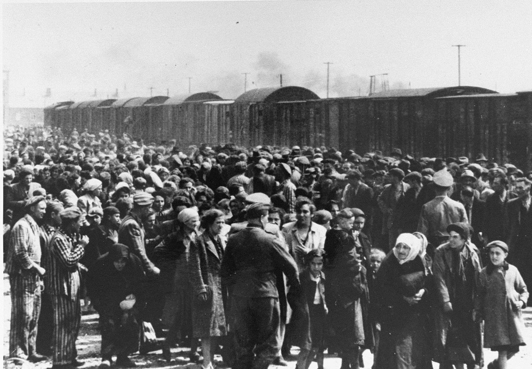 Selection of Jews from Subcarpathian Rus on the ramp at Auschwitz-Birkenau.    Pictured second from the left, in a striped uniform is Eddy Wynschenk.  See hard copy of worksheet for further identifications.