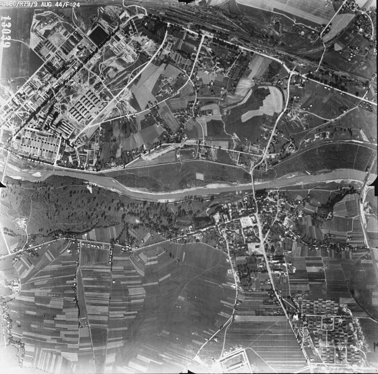 An aerial reconnaissance photo of the Auschwitz area showing a portion of the Auschwitz I main camp. [oversized photograph]