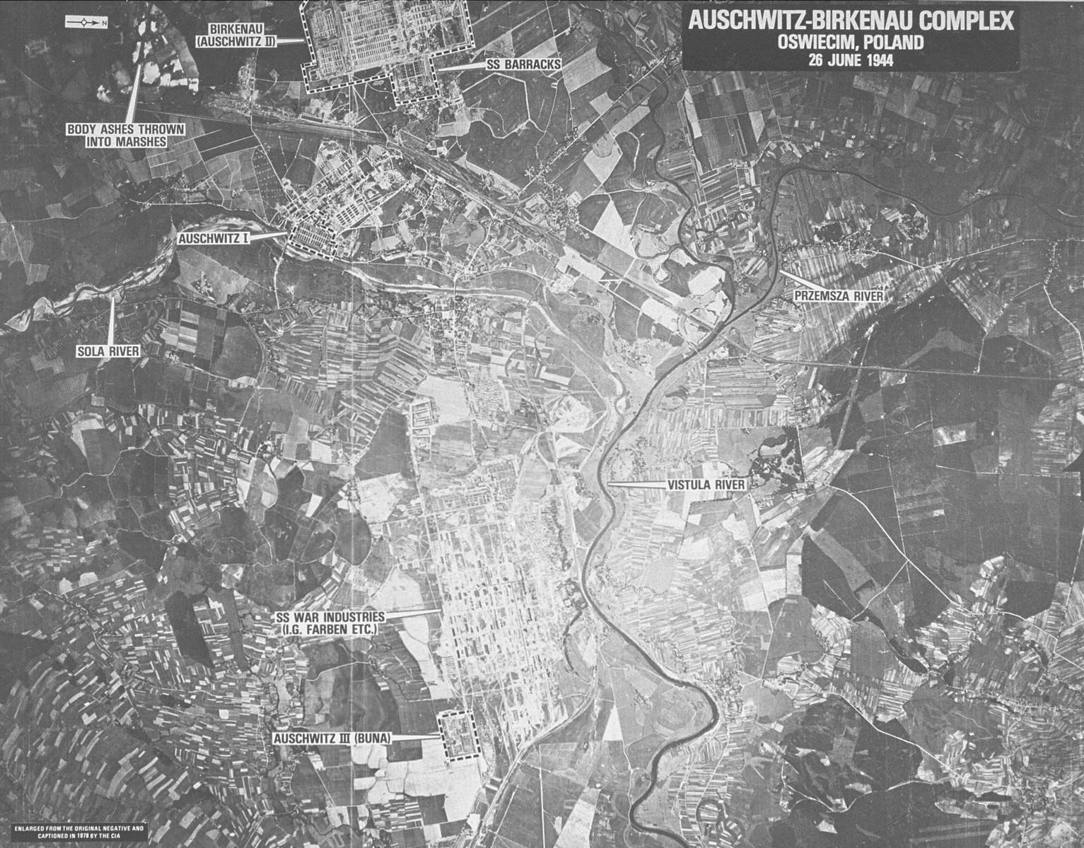 An aerial reconnaissance photograph of Auschwitz II (Birkenau) including Auschwitz III (Monowitz) and the I.G. Farben Buna plant.