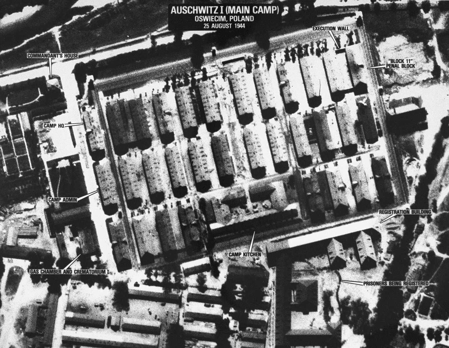 An aerial reconnaissance photograph  of the Auschwitz concentration camp showing Auschwitz 1 Mission.