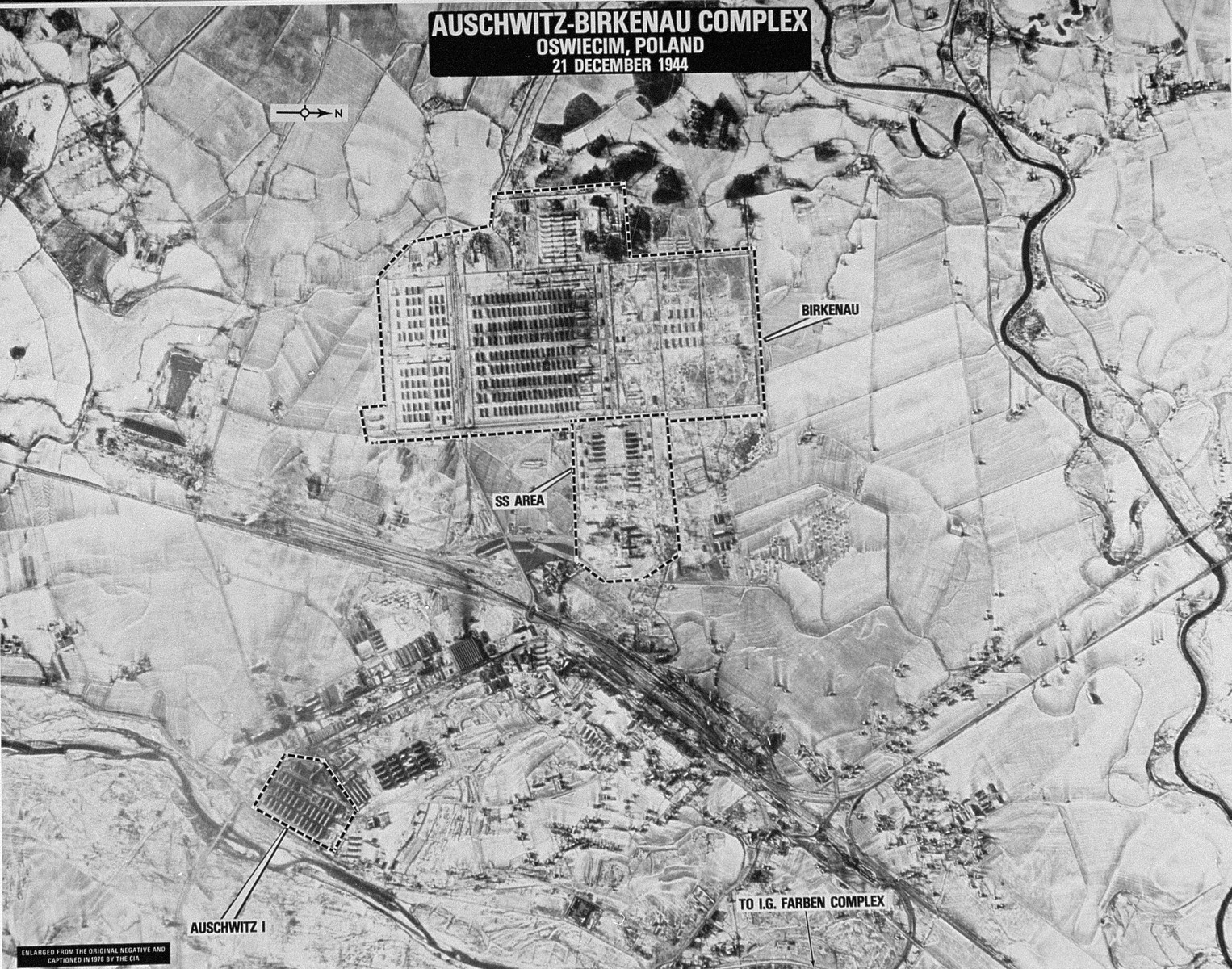 An aerial reconnaissance photograph showing  Auschwitz concentration camp, including the Auschwitz I and Auschwitz II camps and the surrounding area.