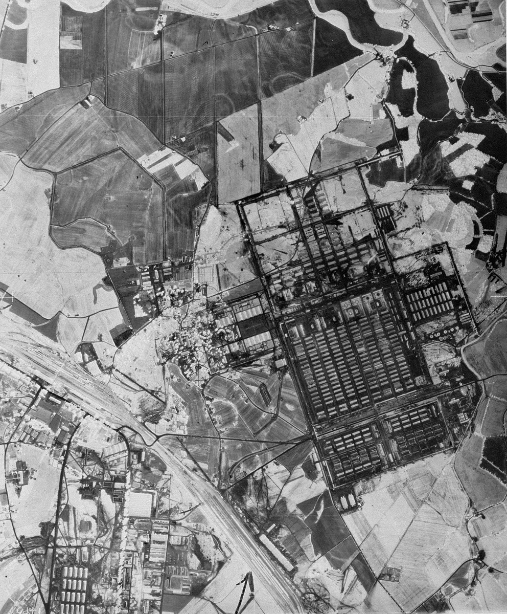 "An aerial reconnaissance photograph of the Auschwitz concentration camp showing Auschwitz II (Birkenau).  Mission:  60 PRS/462 60 SQ;  Scale: 1/54,000;  Focal Length: 6"";  Altitude: 27,000' [oversized photograph]"