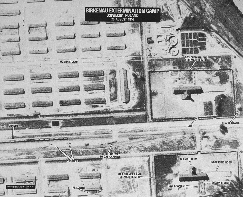An aerial reconnaissance photograph showing Auschwitz II (Birkenau).