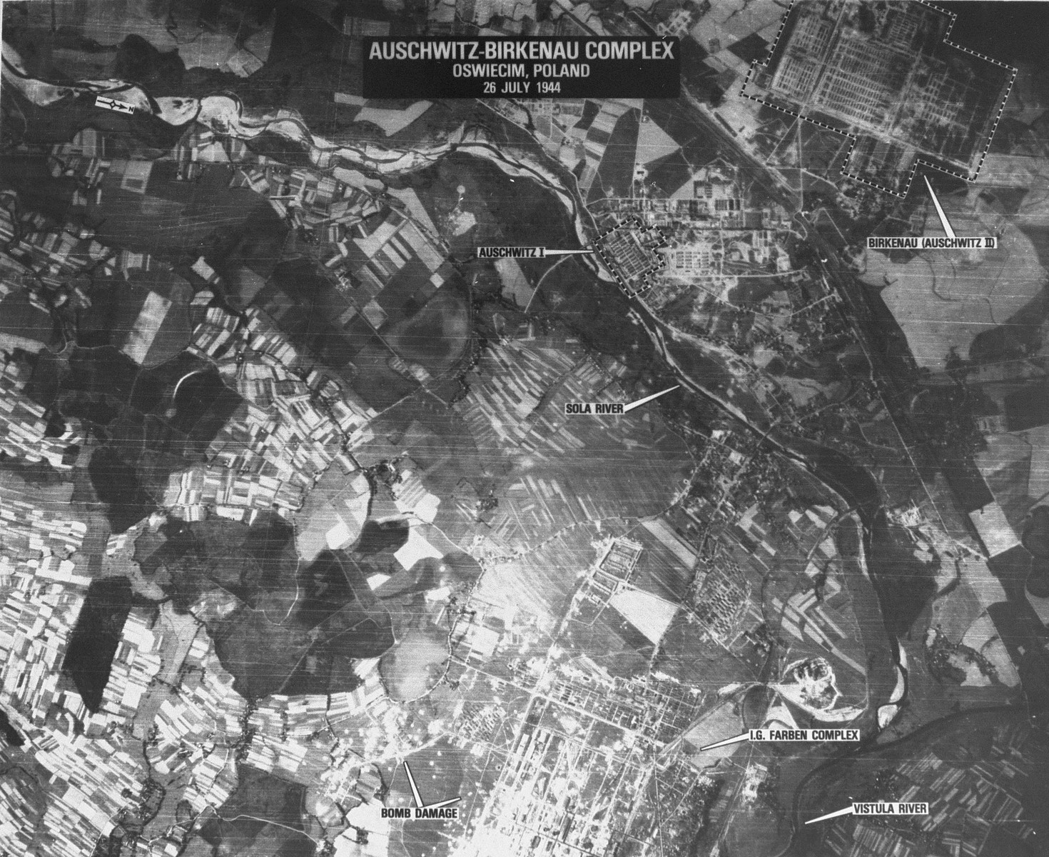 An aerial reconnaissance photograph  showing  Auschwitz II (Birkenau),  including the I.G. Farben plant.