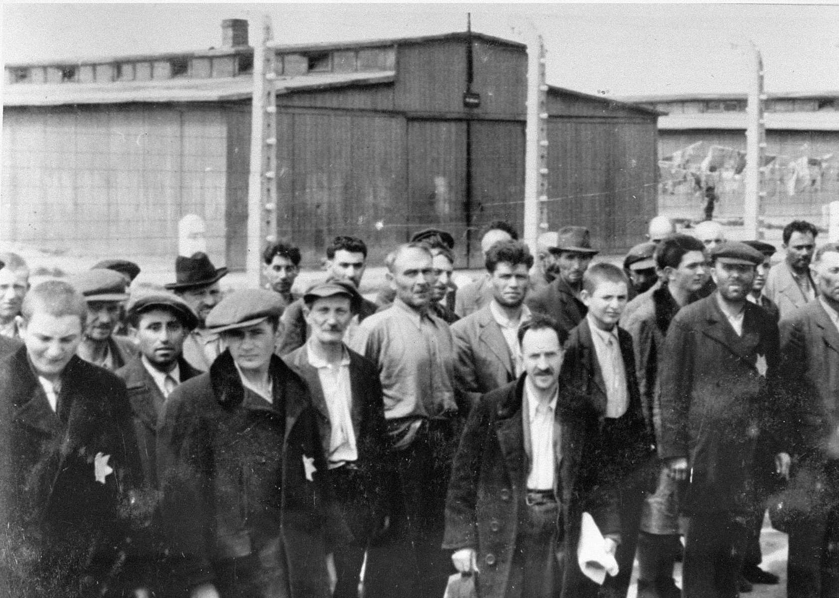 Jews from Subcarpathian Rus who have been selected for forced labor at Auschwitz-Birkenau are assembled in front of a barracks.
