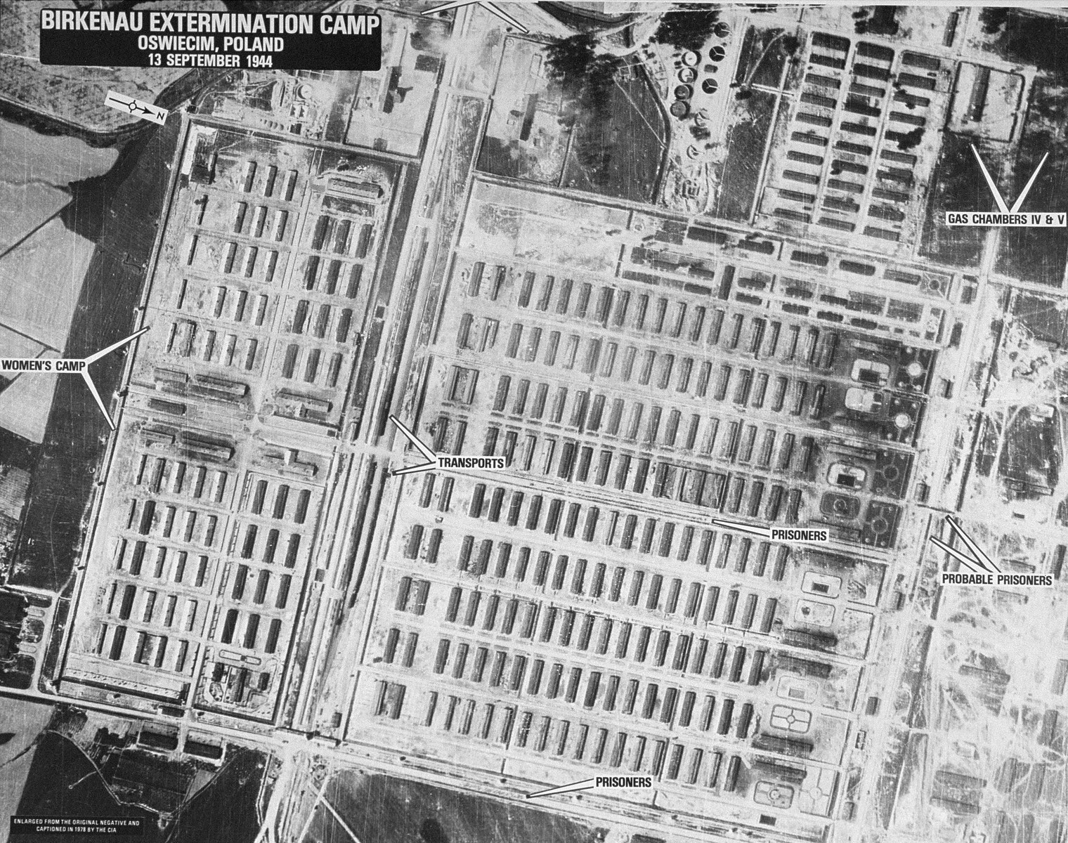 "An aerial reconnaissance photograph of the Auschwitz concentration camp showing the Auschwitz II (Birkenau) camp.  Mission:  464 BG:4M97;  Scale: 1/23,000;  Focal Length: 12"";  Altitude: 23,000'."