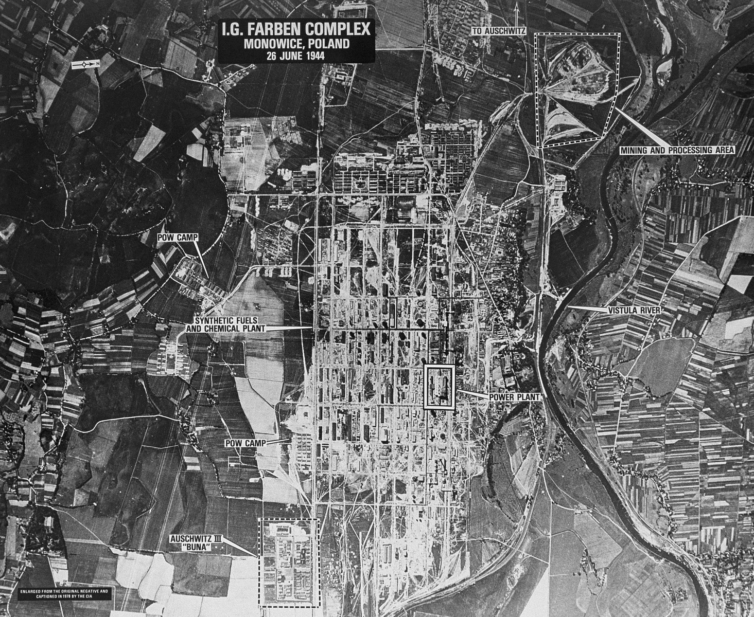 An aerial reconnaissance photograph showing the Auschwitz III (Monowitz) complex surrounding the I.G. Farben Buna production plant.