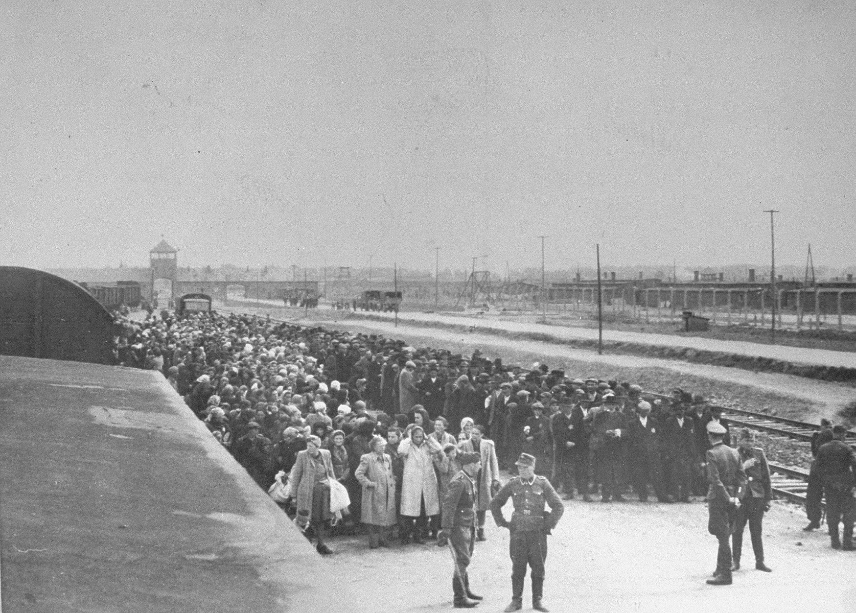 View from atop the train of Jews lined up for selection on the ramp at Auschwitz-Birkenau.  Rozi (nee Mueller) Bittman is standing in the front row, second from the left.  The SS officer in the center wearing a visor cap is Walter Schmidetzki.