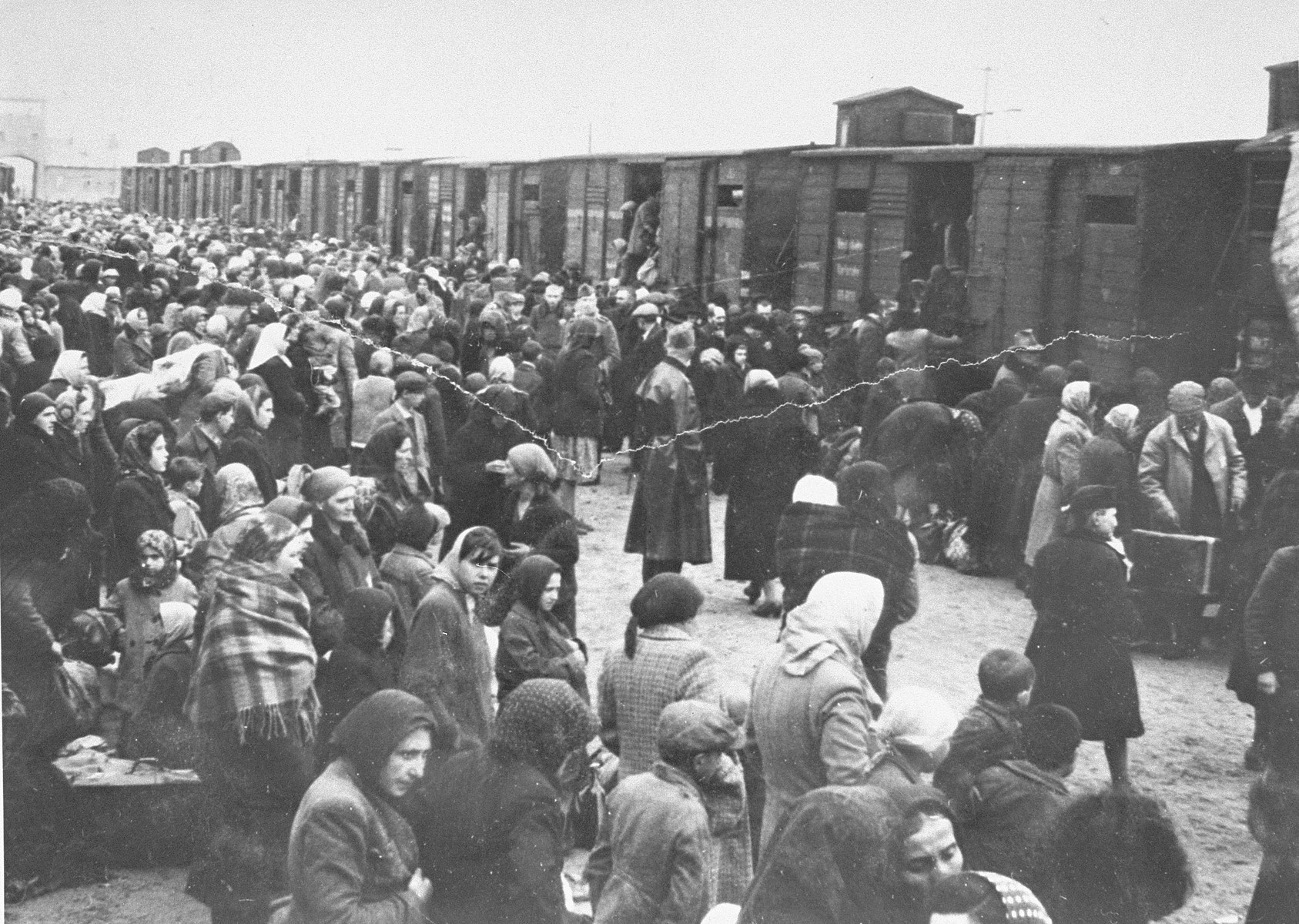 Jews from Subcarpathian Rus await selection on the ramp at Auschwitz-Birkenau.