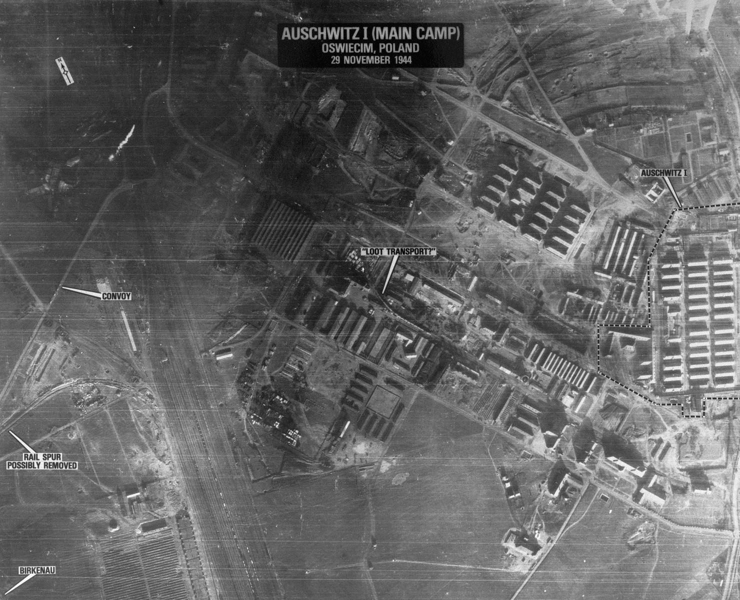 An aerial reconnaissance photograph showing Auschwitz I.