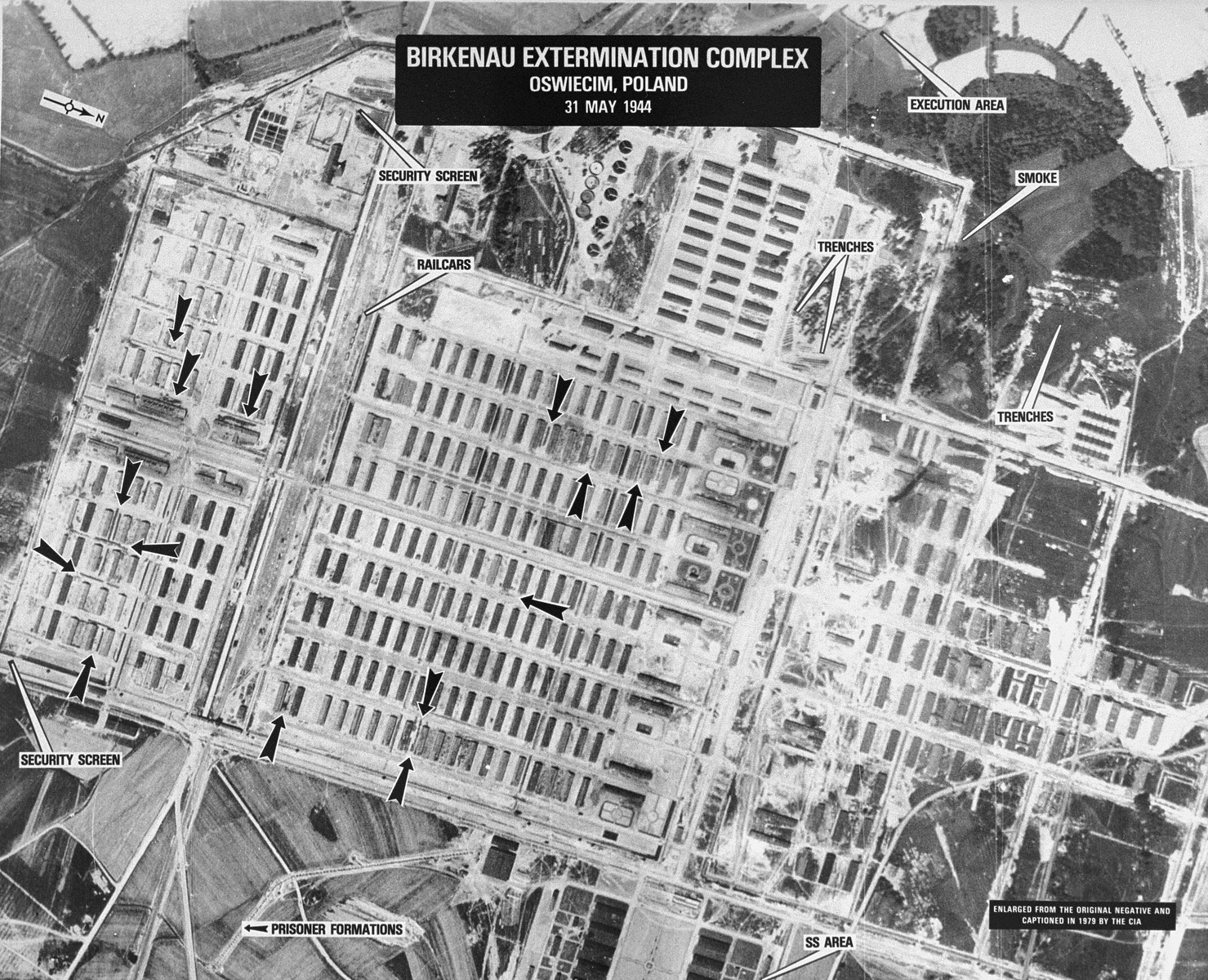 An aerial reconnaissance photograph of the Auschwitz concentration camp showing Auschwitz II (Birkenau), including the gypsy camp.
