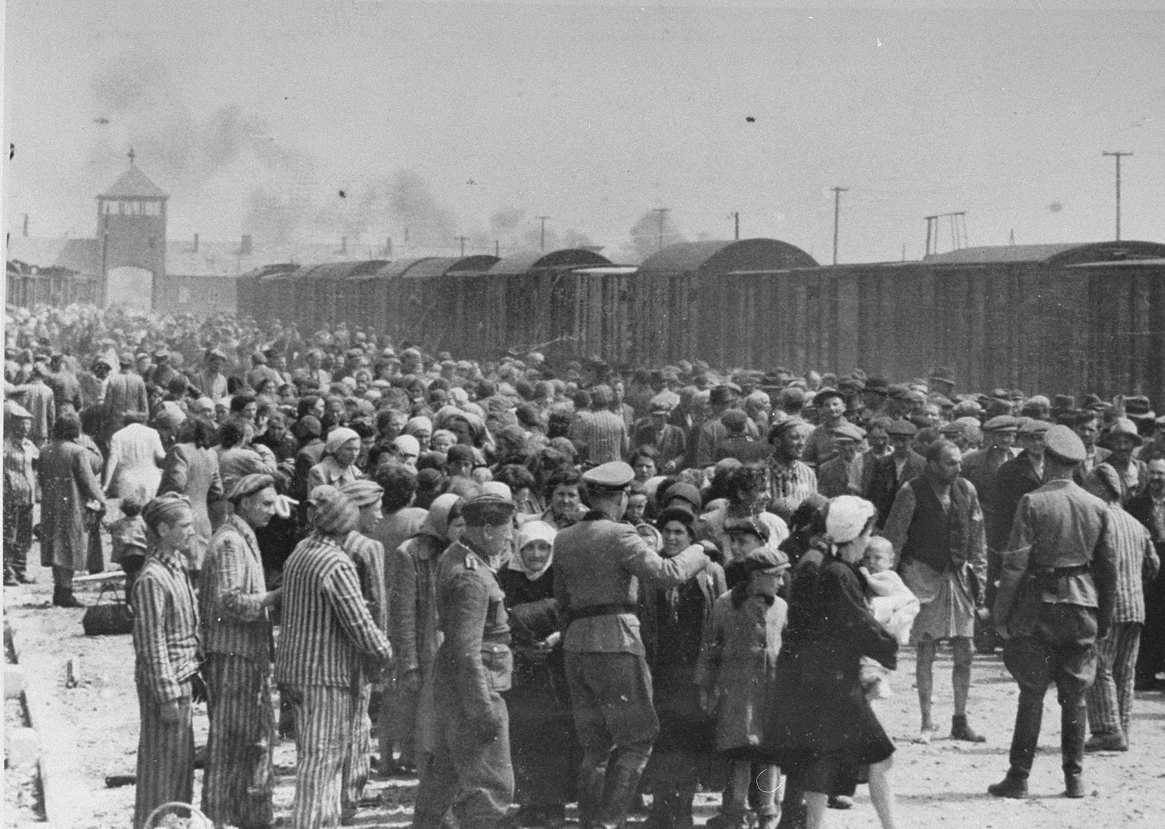 Jews from Subcarpathian Rus undergo a selection on the ramp at Auschwitz-Birkenau.  Pictured in front right is either SS Unterscharfuehrer Wilhelm Emmerich or SS Haupsturmfuehrer Georg Hoecker assisted by the Jewish prisoner Hans Schorr.  Also pictured in the front, second from the front is Jakob de Hond from Holland [also identified as Szlomo Glogower from Makow, Poland] and Yap Van-Gelder, far left [also identified as Shlomo Pivnik].  The woman next to him as been identified as Rosa Landau from Er-Mihaifalva (Valea-Lui-Mihai).