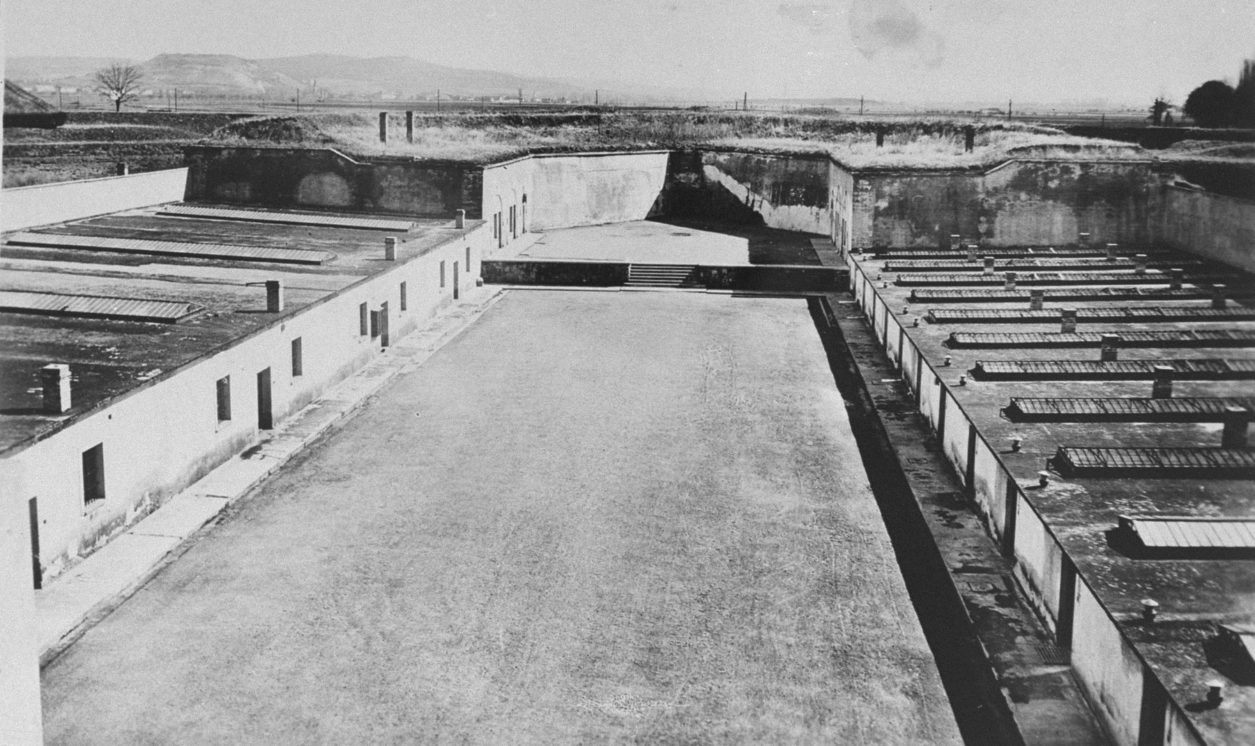 View of part of the fortification called the Ravelin and the Gestapo prison courtyard in the Small Fortress at Theresienstadt.
