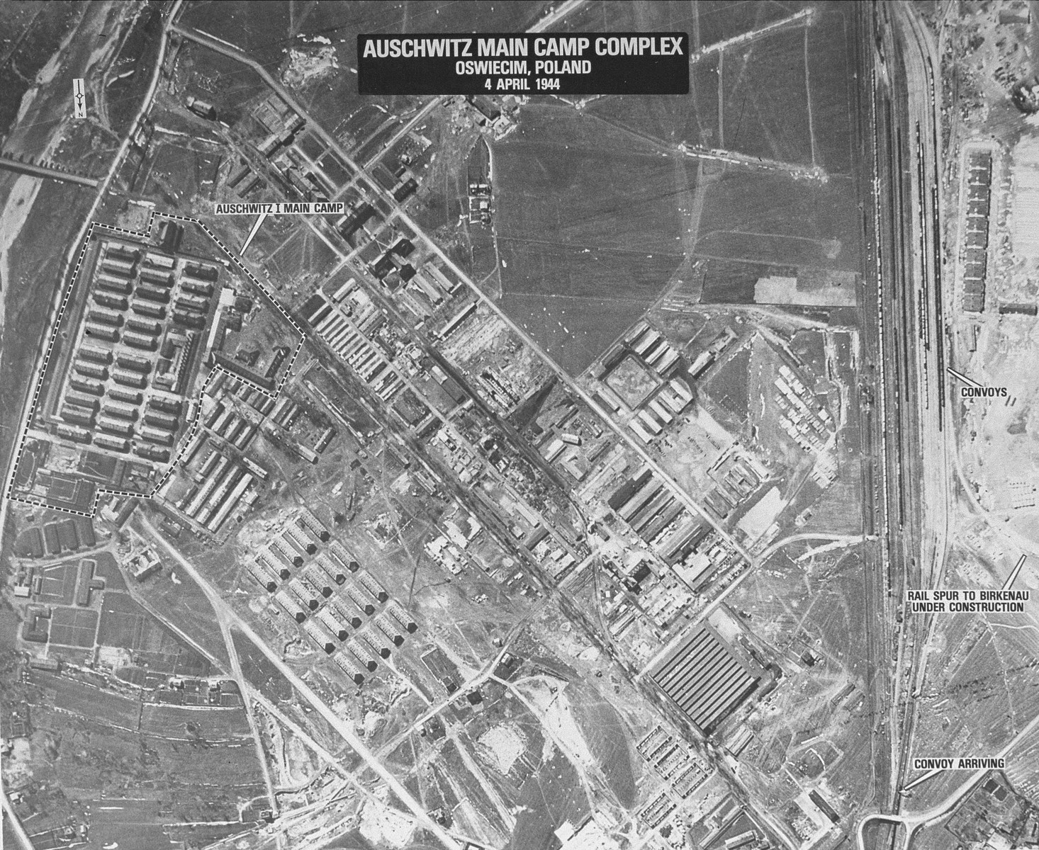 An aerial reconaissance photograph showing the Auschwitz I camp.
