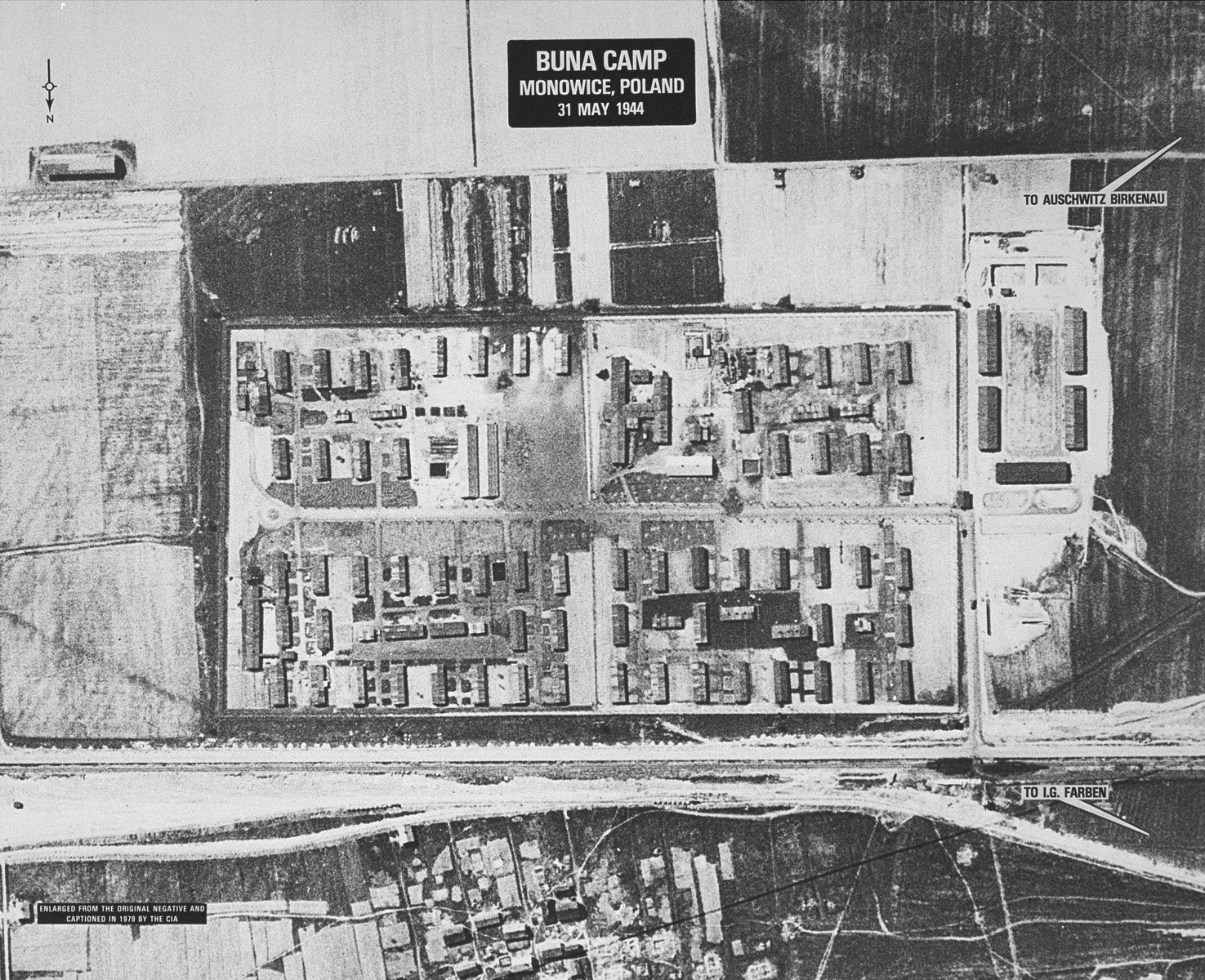 An enlarged detail of an aerial reconnaissance photograph of the Auschwitz concentration camp showing the I.G. Farben Buna complex.