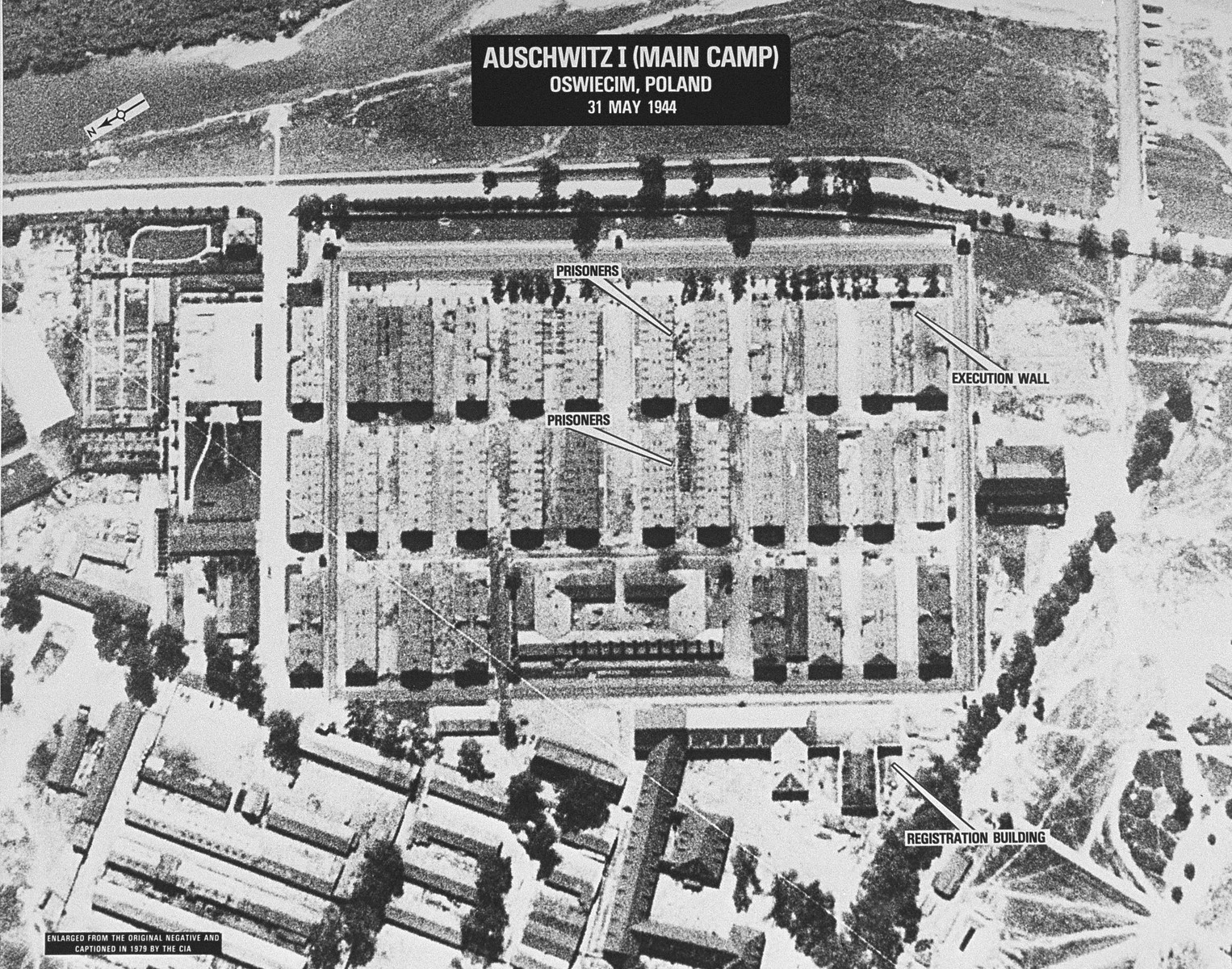 An aerial reconnaissance photograph of the Auschwitz concentration camp showing Auschwitz I.