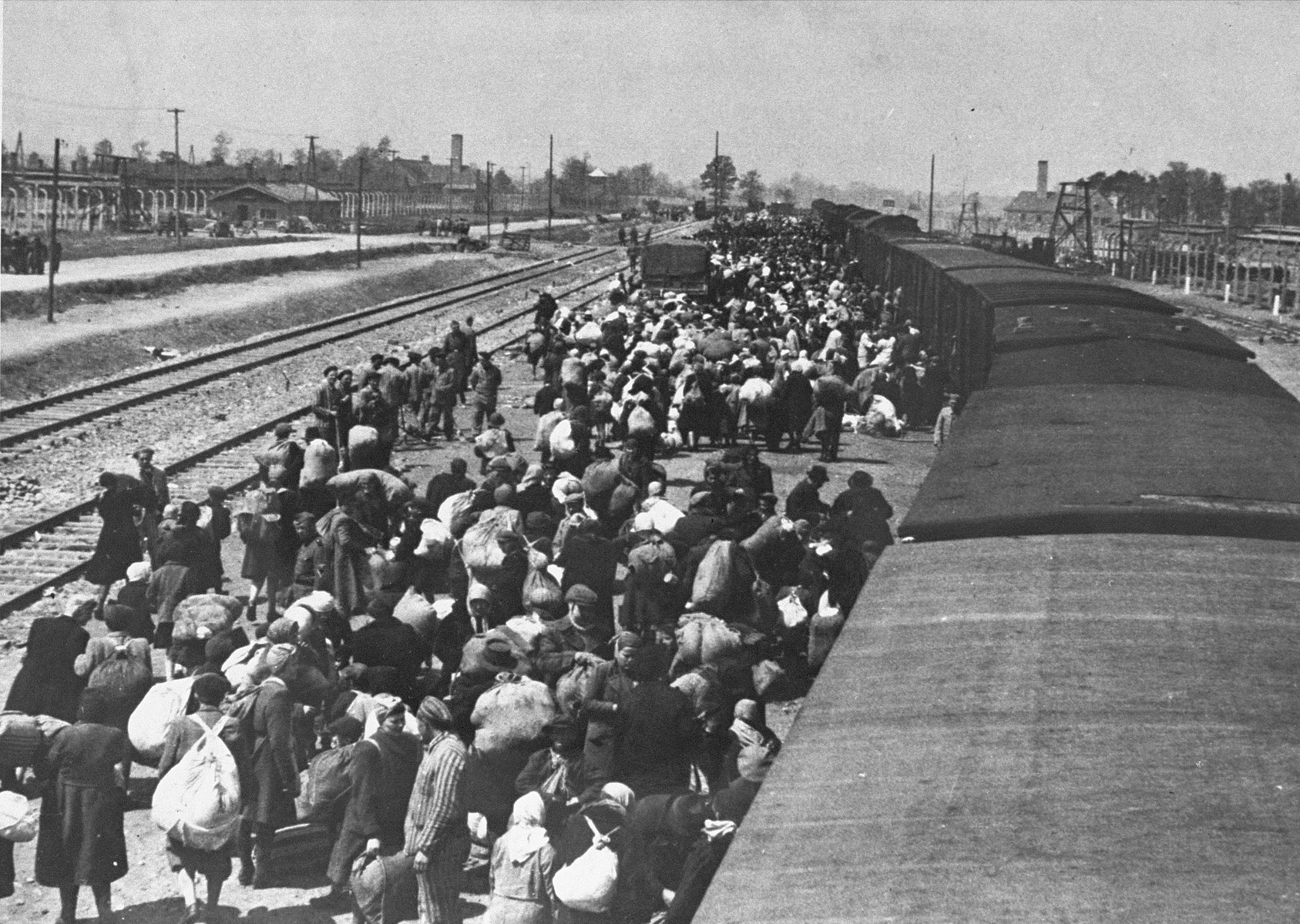 A transport of Jews from Subcarpathian Rus is taken off the trains and assembled on the ramp at Auschwitz-Birkenau.  Pictured in the front is Heinrich Preiss, a member of the Kanada kommando.